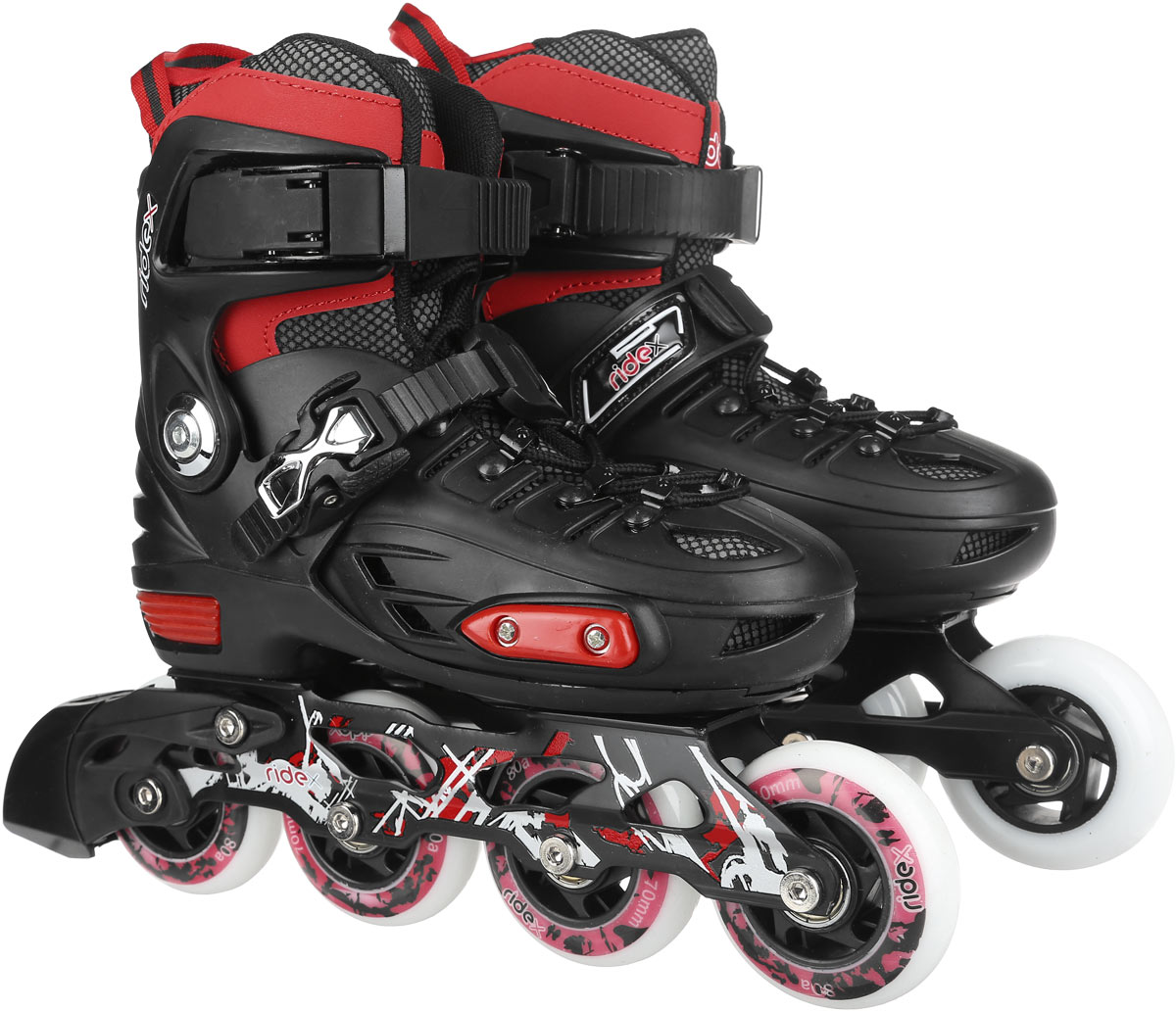 Коньки роликовые Ridex Diablo, раздвижные, цвет: черный, красный. УТ-00008115. Размер 30/33