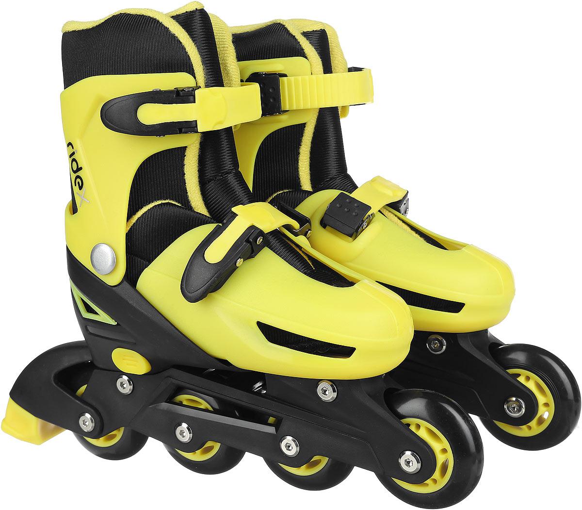 Коньки роликовые Ridex Champion, раздвижные, цвет: черный, желтый. УТ-00008209. Размер 35/38