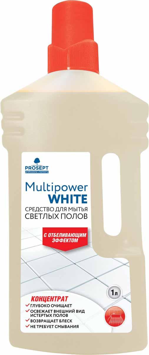Cредство для мытья светлых полов Prosept Multipower White, с отбеливающим эффектом, концентрат, 1 лMW-3101Щелочное моющее низкопенное средство для мытья следующих типов напольных покрытий - керамических, синтетических (ПВХ, винил), из искусственного камня, каучуковых, окрашенных деревянных, бетонных, наливных. Удаляет атмосферные, почвенные и органические загрязнения. Отбеливает светлые напольные покрытия, возвращает свежий вид полам, потемневшим со временем. Не оставляет разводов.