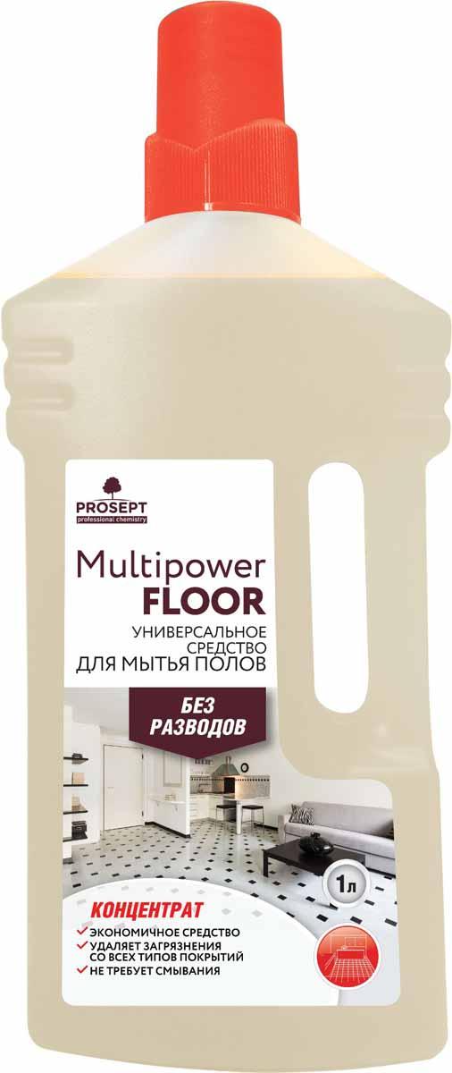 Средство для мытья полов Prosept Multipower Floor, универсальное, концентрат, 1 л230-1Щелочное моющее средство эффективно в воде любой жесткости и температуры. Удаляет атмосферные, почвенные, органические и другие виды загрязнений со всех типов твердых поверхностей и напольных покрытий. Для мытья ручным и механизированным способом.Товар сертифицирован.