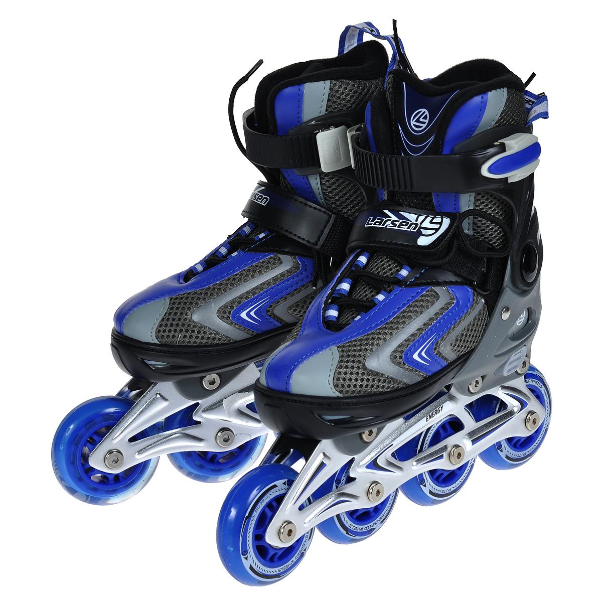 Коньки роликовые Larsen Energy, раздвижные, цвет: синий. Размер XS (29/32)Energy BРаздвижные роликовые коньки Larsen Energy подарят чувство комфорта и уверенности во время движения. Особенностью роликов является раздвижная конструкция на 4 размера, которая разработана для того, чтобы не было необходимости покупать новые ролики каждый сезон. Ролики имеют ботинок с удобными застежками, защищающий ногу от травм, оснащены пяточным тормозом. Рама выполнена из прочного алюминия, а колеса - из полиуретана с подшипниками ABEC-5. Ролики - это модный и полезный вид активного отдыха на свежем воздухе. Катание на роликах является одним из популярных развлечений среди молодежи и детей.