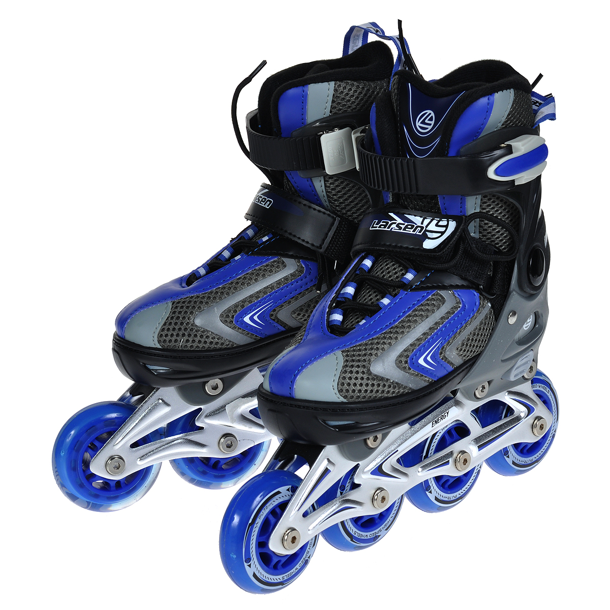 Коньки роликовые Larsen Energy, раздвижные, цвет: синий. Размер S (33/36)