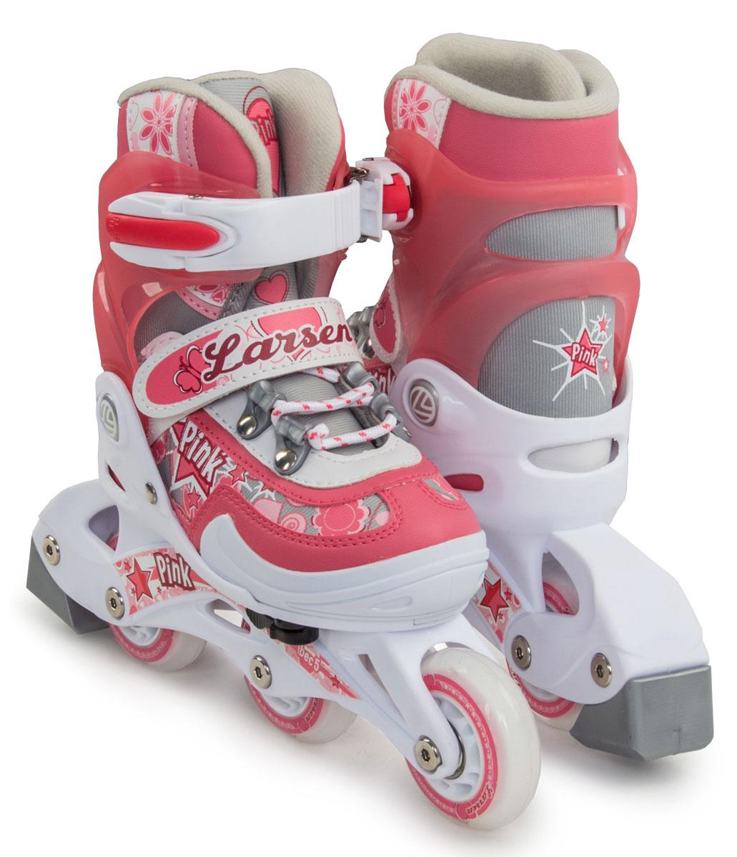 Коньки роликовые для девочки Larsen Pink, цвет: белый, розовый, серый. 202311. Размер 34/37 - Ролики