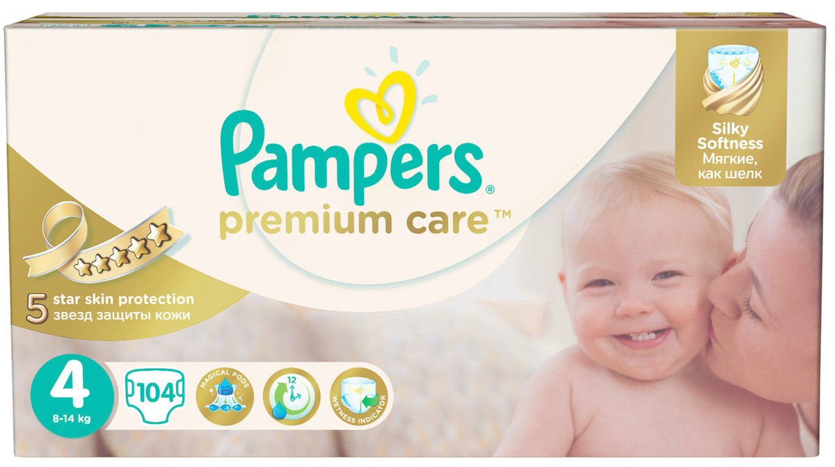 Pampers Подгузники Premium Care 8-14 кг (размер 4) 104 шт pampers подгузники pampers premium care 8 14 кг 104 шт