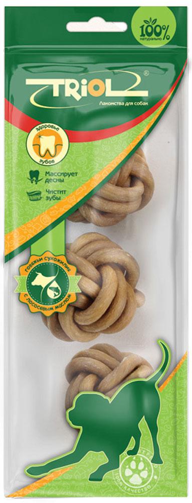 Лакомство для собак из жил Triol Мяч плетеный, с маслом лосося, диаметр 3,8 см, 3 шт42733Мяч плетеный из жил с маслом лосося – это функциональная игрушка и настоящий лакомый микс из сыромятной кожи, говяжьих сухожилий и лососевого масла – лучшего источника активных Омега-3 кислот, необходимых для блеска шерстного покрова, очистки крови и нормальной работы организма в целом. Пищевая ценность: белки - 80%, жиры - 0,1-2%, клетчатка - 0,2%. Вес 1 штуки: 17-23г. Размер d3,8см.