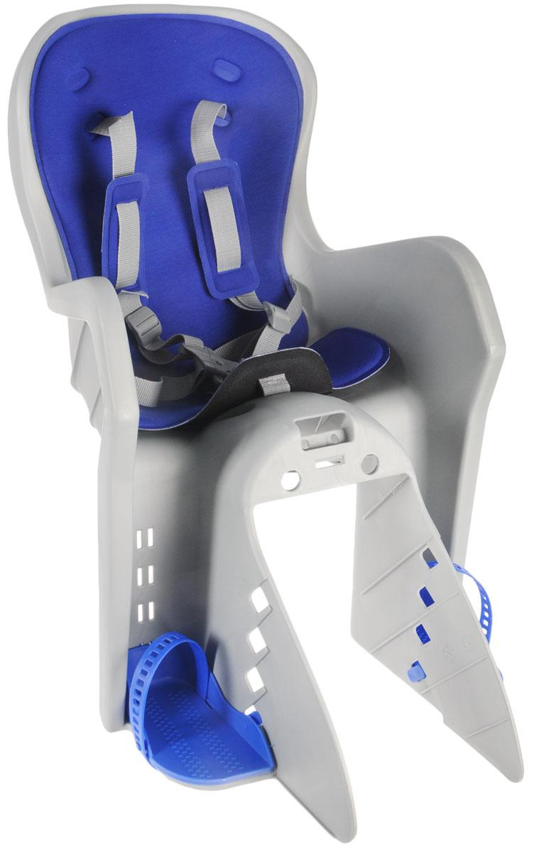 Велокресло детское Stern, на раму, цвет: серый, синий, 36 х 26 х 85 смMW-1462-01-SR серебристыйКресло Stern предназначено для транспортировки детей на велосипеде. Пятиточечные ремни безопасности имеют дополнительный кронштейн, который фиксируется в районе груди и обеспечивает большую безопасность ребенку. Кресло оснащено регулируемыми по высоте подножками с фиксатором ноги. Соответствует Европейским стандартам качества. Подходит для детей весом до 22 кг.