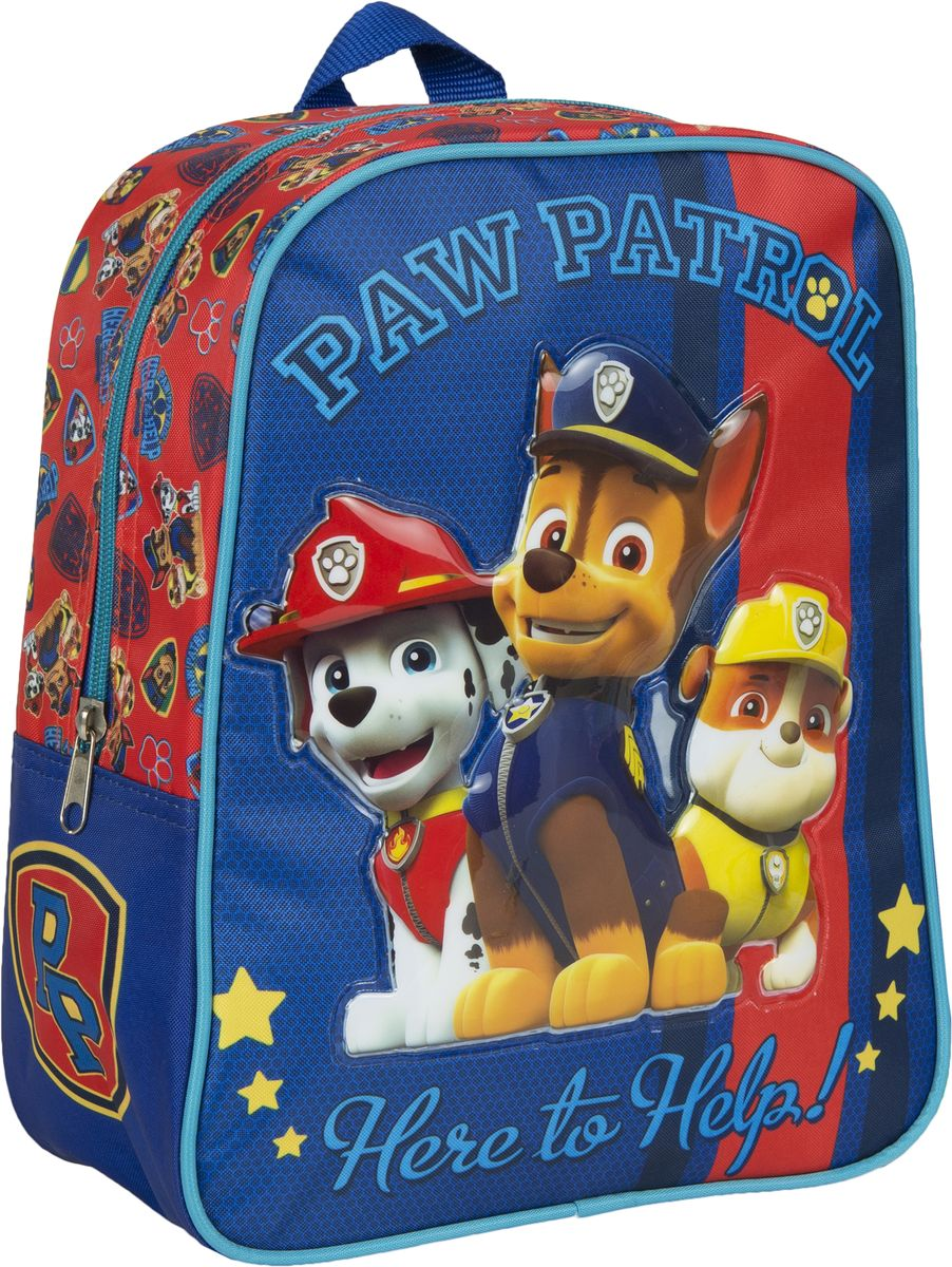 Paw Patrol Рюкзак дошкольный 31843NRk_15014Рюкзачок Paw Patrolоптимально подойдет вашему ребенку для прогулок, занятий в кружке или спортивной секции. Рюкзачок декорирован ярким рисунком с одним из героев любимого детского мультсериала Щенячий патруль. Такой рисунок устойчив к истиранию и выгоранию на солнце.Рюкзак имеет компактный размер и легкий вес, а в его вместительном внутреннем отделении на молнии легко поместятся все необходимые вещи, в том числе предметы формата А4. Мягкие регулируемые лямки шириной 6 см берегут плечи от натирания, а светоотражающие элементы, размещенные на них, повышают безопасность ребенка, делая его заметнее на дороге в темное время суток. Удобная ручка помогает носить аксессуар в руке или размещать на вешалке. Износостойкий материал с водонепроницаемой основой и подкладка обеспечивают изделию длительный срок службы и помогают держать вещи сухими в дождливую погоду.