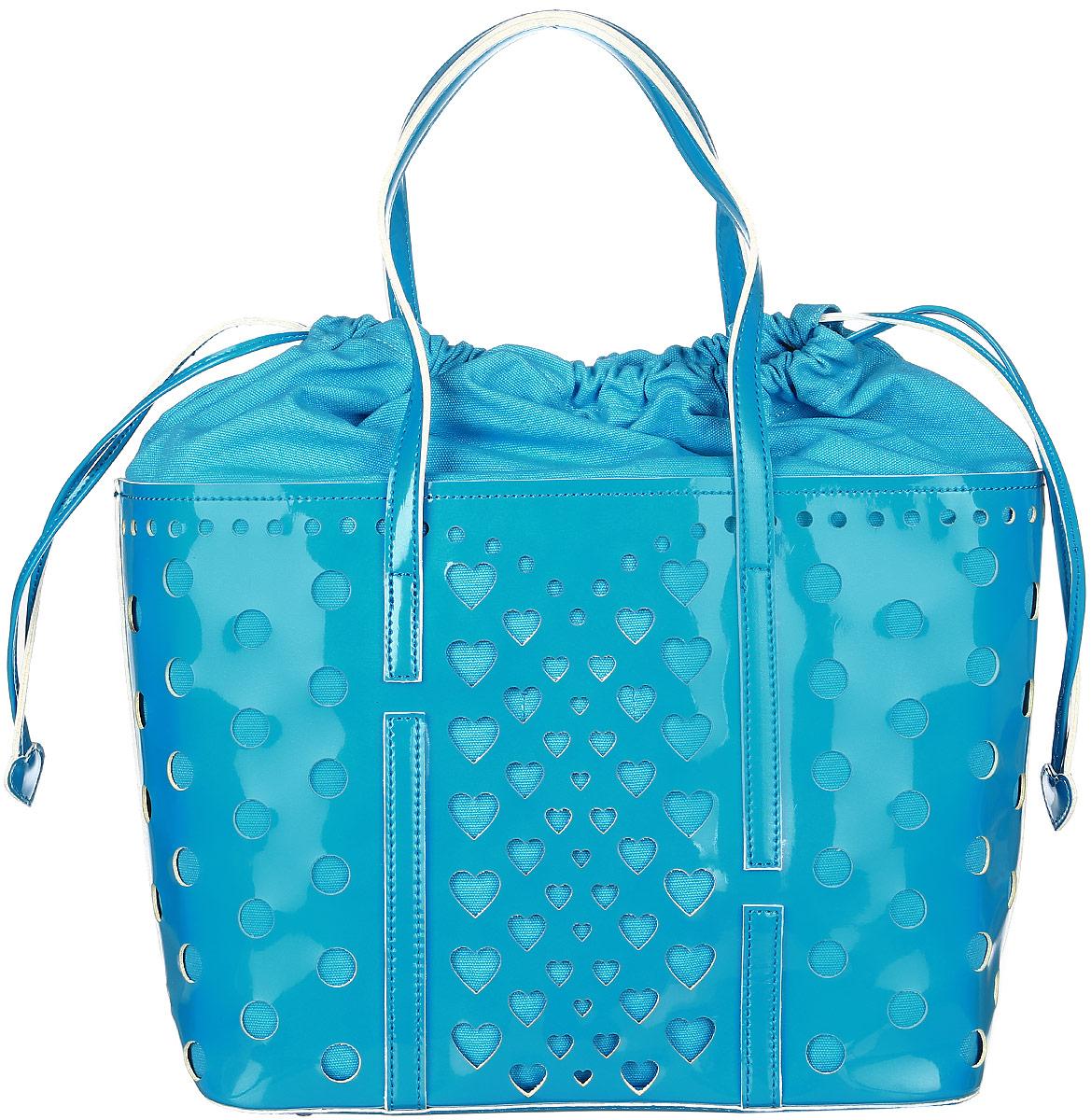 Сумка женская Vittorio Richi, цвет: голубой. 913140L39845800Сумка из экокожи с перфорацией. Внутри текстильный мешок на затяжках. Высота ручек 21см.