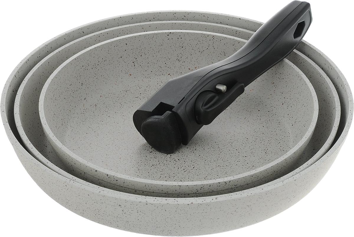 Набор посуды Travola, с мраморным покрытием, цвет: серый, 4 предмета54 009312Набор посуды Travola состоит из трех сковородок и съемной ручки. Изделия выполнены из алюминия с мраморным покрытием. Ручка выполнена из высококачественного пластика со съемным механизмом. Такой набор не только станет незаменимым помощником в приготовлении ваших любимых блюд, но и стильно оформит интерьер кухни. При приготовлении не использовать металлические аксессуары. Не использовать для мытья металлические щетки и абразивные материалы. Не рекомендуется хранить готовые блюда в сковородах, в особенности овощные блюда. Можно использовать на всех видах плит, кроме индукционных.Высота стенок: 5,2 см; 4,4 см; 4,3 см. Внутренний диаметр сковороды (по верхнему краю): 28 см; 26 см; 22 см. Толщина стенок посуды: 4 мм.Толщина дна посуды: 5 мм.Длина ручки: 16,5 см. * Победитель номинации «Лучшая собственная торговая марка в сегменте ONLINE»Премия PRIVATE LABEL AWARDS (by IPLS) —международная премия в области собственных торговых марок, созданная компанией Reed Exhibitions в рамках выставки «Собственная Торговая Марка» (IPLS) 2016 с целью поощрения розничных сетей, а также производителей продовольственных и непродовольственных товаров за их вклад в развитие качественных товаров private label, которые способствуют росту уровня покупательского доверия в России и СНГ.