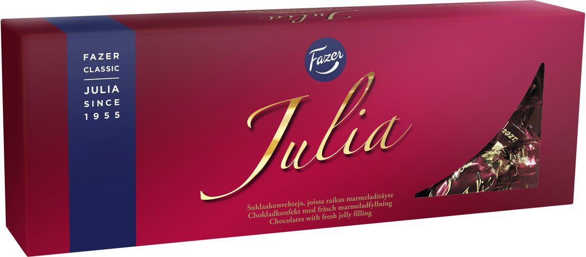 Karl Fazer Julia конфеты темный шоколад с ананасово-абрикосовым мармеладом, 350 г16932Вазочка с конфетами Julia будет всегда кстати, когда вы соберетесь попить чай с семьей или друзьями. Нежный и сочный мармелад в сочетании с темным шоколадом не оставит никого равнодушным. Конфеты впервые появились на свет в Финляндии в 1950 году.