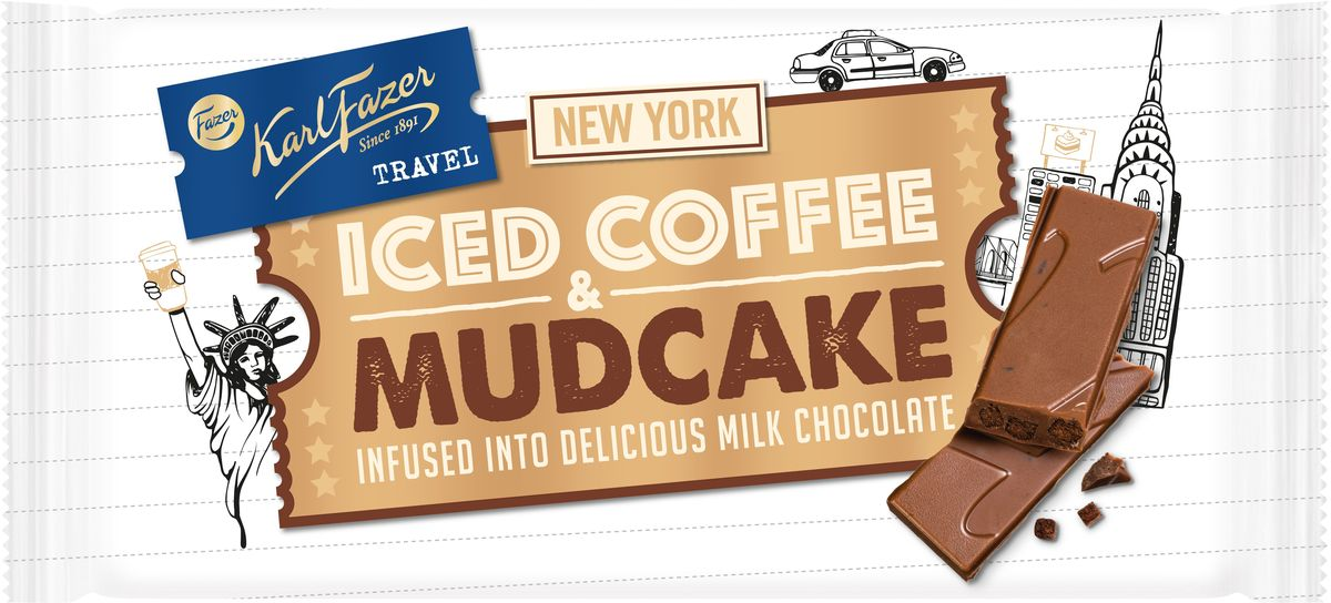 Karl Fazer молочный шоколад со вкусом кофе и кусочками шоколадного кекса, 130 г0120710Карл Фацер был большим любителем путешествий и собирал необычные вкусы из разных стран. Следуя за ним, приглашаем вас в тур по самым сладким городам. Откройте мир с шоколадом Karl Fazer Travel!