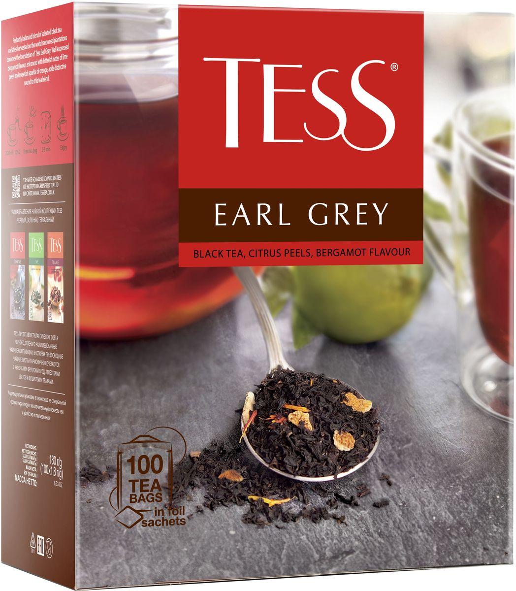 Tess Earl Grey черный чай с цедрой лимона в пакетиках, 100 шт0120710Тесс Эрл Грей - этот чайный напиток соединяет в себе аромат бергамота и цедру цитрусовых. Вкус этого чая нередко сравнивают с легким морским бризом. И действительно он свежий и воздушный. А нотки цитруса создают прекрасное послевкусие.