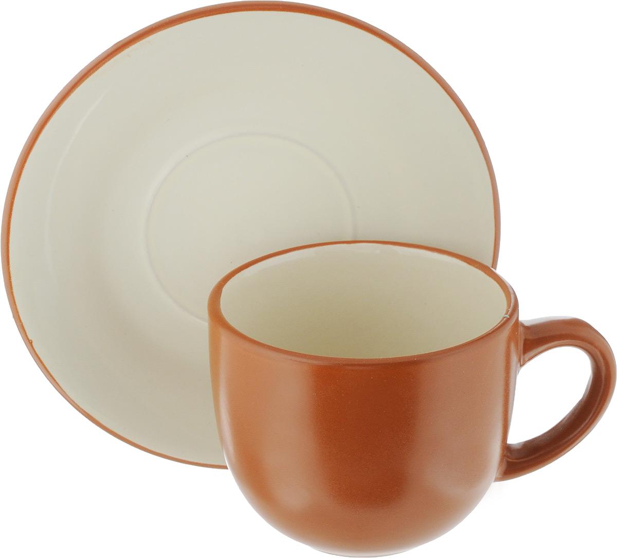 Чайная пара Ломоносовская керамика, 2 предмета. 1ЧП-220ТК115510Чайная пара Ломоносовская керамика состоит из чашки и блюдца. Изделия, выполненные из высококачественной глины с глазурованным покрытием, имеют элегантный дизайн. Такая чайная пара прекрасно подойдет как для повседневного использования, так и для праздников. Объем чашки: 200 мл. Диаметр чашки (по верхнему краю): 8,5 см. Высота чашки: 7 см.Диаметр блюдца: 14,5 см.Высота блюдца: 1,7 см.