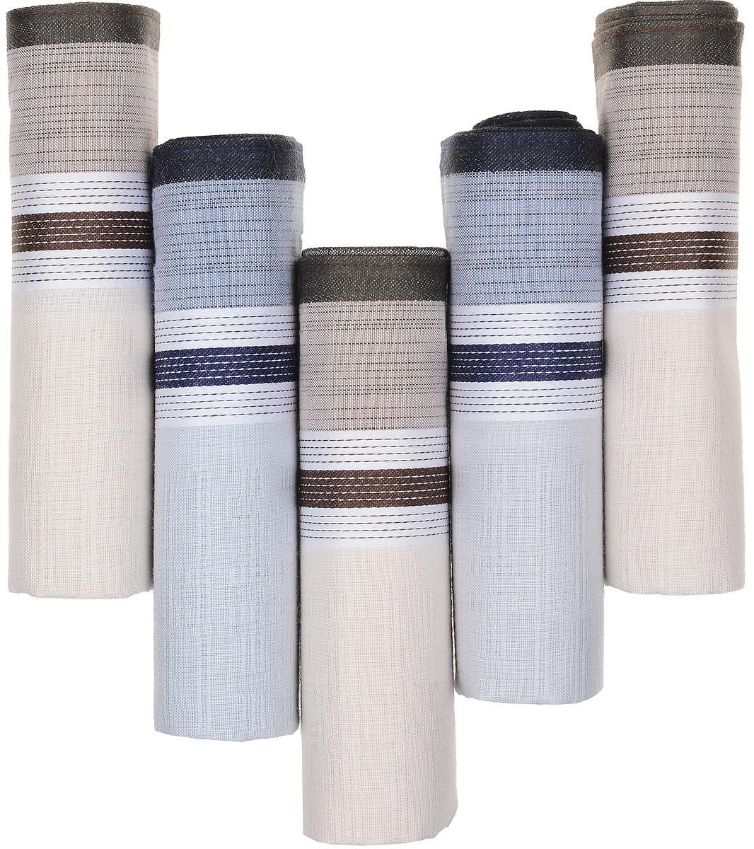 Платок носовой мужской Zlata Korunka, цвет: коричневый, голубой, бежевый, 5 шт. 90512-10. Размер 29 см х 29 смСерьги с подвескамиОригинальный мужской носовой платок Zlata Korunka изготовлен из высококачественного натурального хлопка, благодаря чему приятен в использовании, хорошо стирается, не садится и отлично впитывает влагу. Практичный и изящный носовой платок будет незаменим в повседневной жизни любого современного человека. Такой платок послужит стильным аксессуаром и подчеркнет ваше превосходное чувство вкуса.В комплекте 5 платков.