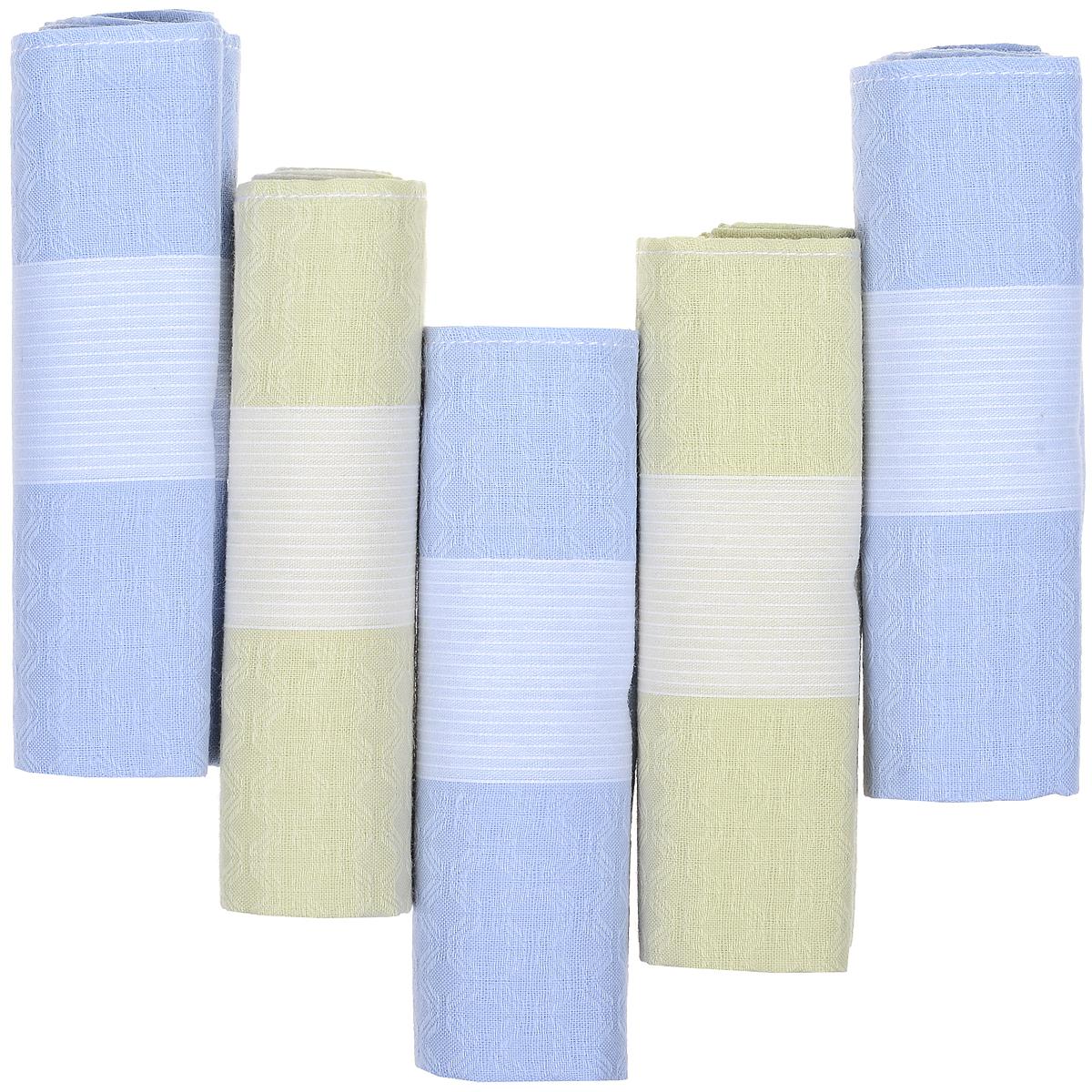 Платок носовой мужской Zlata Korunka, цвет: голубой, молочный, 5 шт. 90512-2. Размер 29 см х 29 смСерьги с подвескамиОригинальный мужской носовой платок Zlata Korunka изготовлен из высококачественного натурального хлопка, благодаря чему приятен в использовании, хорошо стирается, не садится и отлично впитывает влагу. Практичный и изящный носовой платок будет незаменим в повседневной жизни любого современного человека. Такой платок послужит стильным аксессуаром и подчеркнет ваше превосходное чувство вкуса.В комплекте 5 платков.