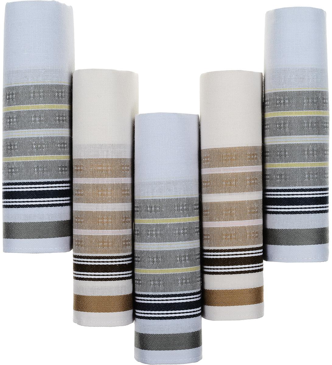 Платок носовой мужской Zlata Korunka, цвет: белый, серый, коричневый, 5 шт. 90512-6. Размер 29 см х 29 см39864|Серьги с подвескамиОригинальный мужской носовой платок Zlata Korunka изготовлен из высококачественного натурального хлопка, благодаря чему приятен в использовании, хорошо стирается, не садится и отлично впитывает влагу. Практичный и изящный носовой платок будет незаменим в повседневной жизни любого современного человека. Такой платок послужит стильным аксессуаром и подчеркнет ваше превосходное чувство вкуса.В комплекте 5 платков.