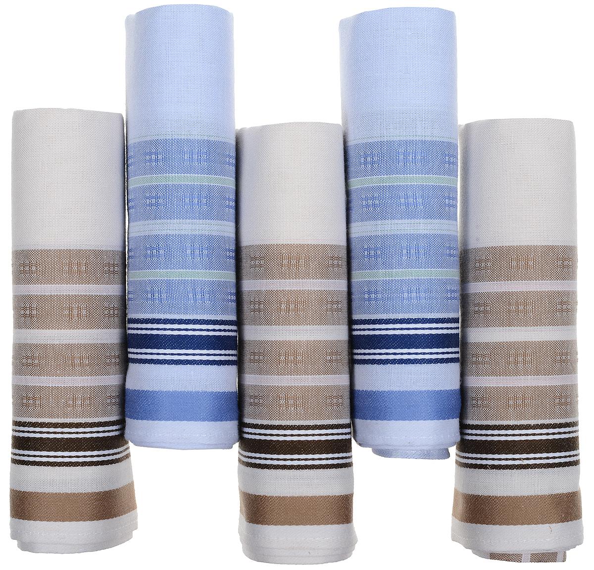 Платок носовой мужской Zlata Korunka, цвет: белый, коричневый, голубой, 5 шт. 90512-5. Размер 29 см х 29 см39864|Серьги с подвескамиОригинальный мужской носовой платок Zlata Korunka изготовлен из высококачественного натурального хлопка, благодаря чему приятен в использовании, хорошо стирается, не садится и отлично впитывает влагу. Практичный и изящный носовой платок будет незаменим в повседневной жизни любого современного человека. Такой платок послужит стильным аксессуаром и подчеркнет ваше превосходное чувство вкуса.В комплекте 5 платков.