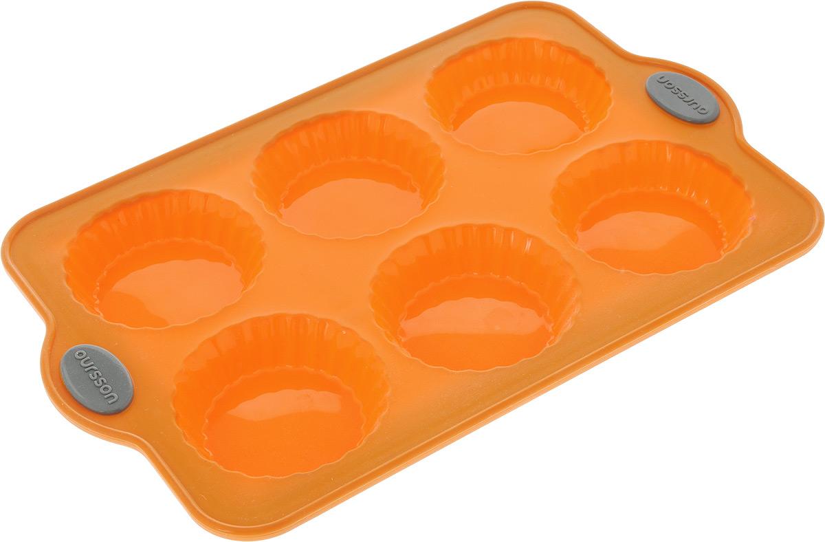 Форма для выпечки Oursson Тарталетки, силиконовая, цвет: оранжевый, 6 ячеекFS-91909Форма для выпечки детских пирожных Oursson Тарталетки, выполненная из силикона с металлическим каркасом, будет отличным выбором для всех любителей домашней выпечки. Форма имеет 6 небольших ячеек круглой формы. Силиконовые формы для выпечки имеют множество преимуществ по сравнению с традиционными металлическими формами и противнями. Нет необходимости смазывать форму маслом. Она быстро нагревается, равномерно пропекает, не допускает подгорания выпечки с краев или снизу.Вынимать продукты из формы очень легко. Слегка выверните края формы или оттяните в сторону, и ваша выпечка легко выскользнет из формы.Материал устойчив к фруктовым кислотам, не ржавеет, на нем не образуются пятна. Форма может быть использована в духовках и микроволновых печах (выдерживает температуру от -20°С до +220°С), также ее можно помещать в морозильную камеру и холодильник.Размер формы: 30,3 х 19,2 х 2,3 см.