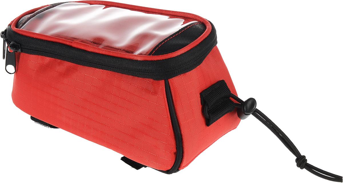 Велосумка Cyclotech, цвет: красный, черный, 1,2 лГризлиВелосумка Cyclotech выполнена из полиэстера. Изделие имеет одно отделение, закрывающееся на застежку-молнию. Крышка сумки оснащена отделением для телефона с прозрачным окошечком из ПВХ, закрывающееся на застежку-липучку. С одной из боковых сторон имеется отверстие для наушников, с другой - эластичная резинка со стоппером.Фиксируется сумка за рамки седла и подседельный штырь с помощью ремешков с застежками-липучками. Основание изделия выполнено из полимера, который предотвращает скольжение и истирание сумки о рамку велосипеда.В комплект входит удлинитель для наушников.