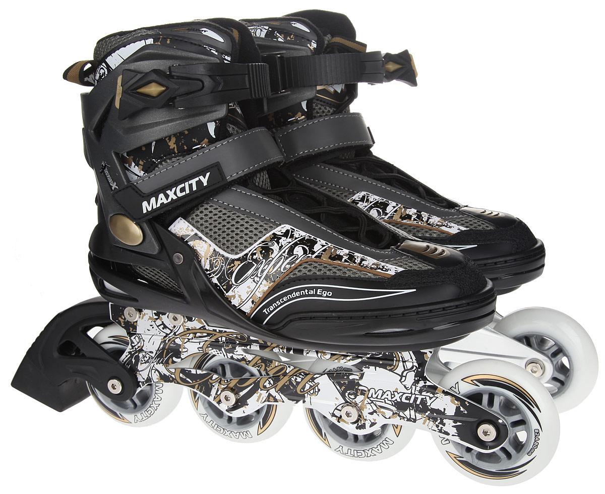 Коньки роликовые мужские MaxCity Expert Male, цвет: черный, белый. Размер 42