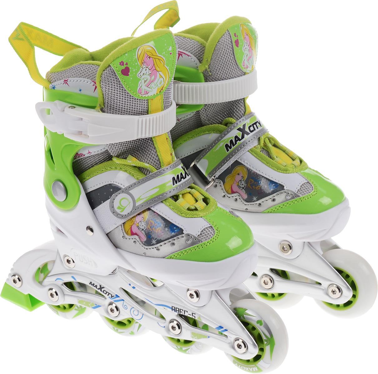 Коньки роликовые для девочки MaxCity Rio, раздвижные, цвет: зеленый, белый. Размер 29/32AIRWHEEL M3-162.8Стильные роликовые коньки Rio от MaxCity с ярким принтом придутся по душе вашему ребенку. Ботинок конька изготовлен по технологии Max Fit из комбинированных синтетических и полимерных материалов, обеспечивающих максимальную вентиляцию ноги. Анатомически облегченная конструкция ботинка из пластика обеспечивает улучшенную боковую поддержку и полный контроль над движением. Подкладка из мягкого текстиля комфортна при езде. Стелька Hi Dri из ЭВА с текстильной поверхностью обеспечивает комфорт и отличную амортизацию. Классическая шнуровка с ремнем на липучке обеспечивает плотное закрепление пятки. На голенище модель фиксируется клипсой с фиксатором. Прочная рама из алюминия отлично передает усилие ноги и позволяет быстро разгоняться. Мягкие полиуретановые колеса обеспечат плавное и бесшумное движение. Износостойкие подшипники класса ABEC 5 наименее восприимчивы к попаданию влаги и песка, а также не позволяют развивать высокую скорость, что очень важно для детей и начинающих роллеров. Конструкция роликовых коньков Push & Pull позволяет быстро и точно изменять их размер без использования инструментов и снятия колес. Кнопочное устройство позволяет раздвигать ботинок на 4 полных размера путем совмещения стрелки на каркасе с соответствующей буквой на подошве ботинка. Задник оснащен текстильной петлей, благодаря которой изделие удобно надевать. В комплект также входят два шестигранных ключа для регулировки колес и один пяточный тормоз.