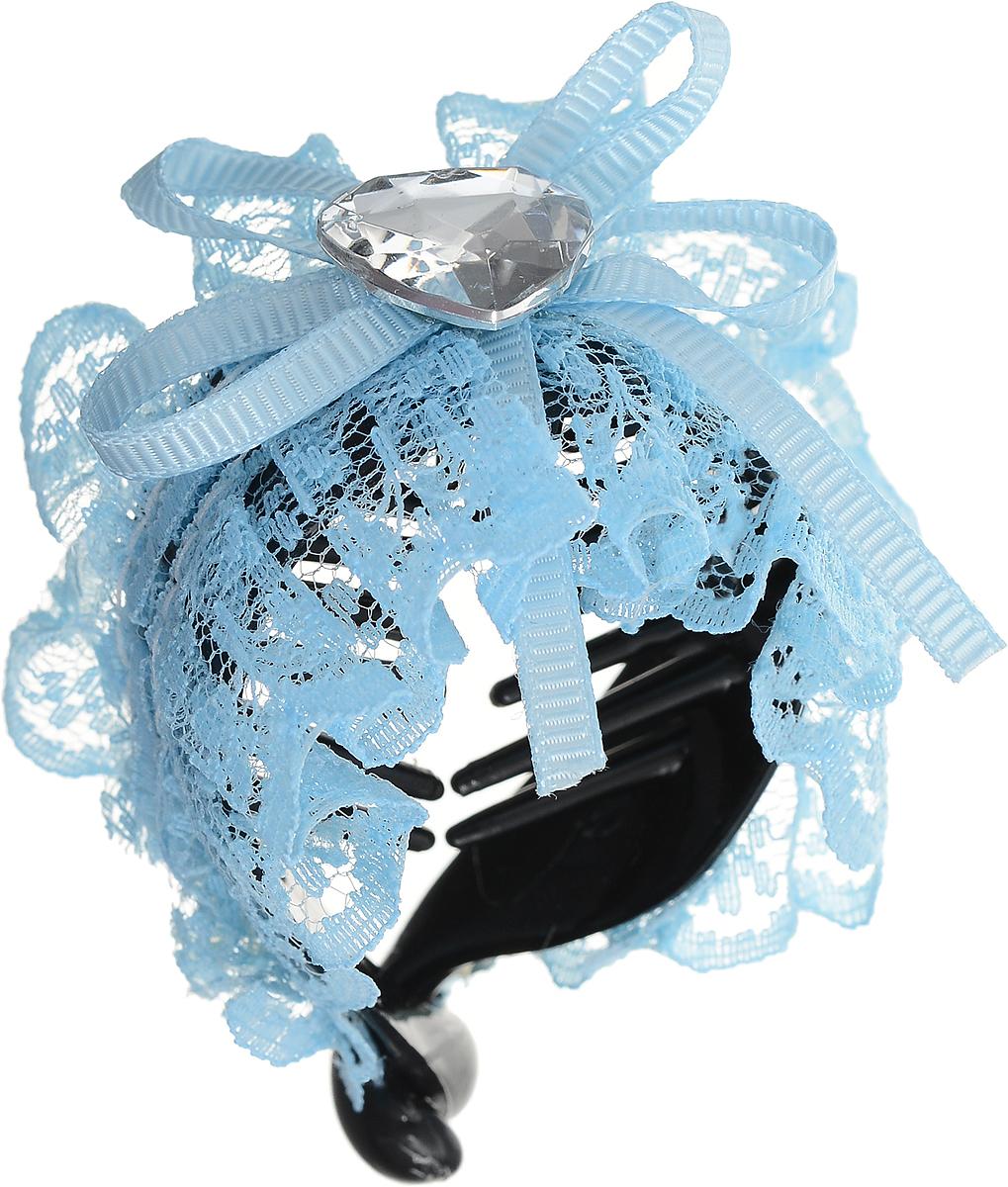 Зажим для волос Mitya Veselkov, цвет: синий. 1058-BLUE-DAMCDB 605Стильный зажим для волос Mitya Veselkov изготовлен из пластика, декорирован лентой и стразом в виде сердца.