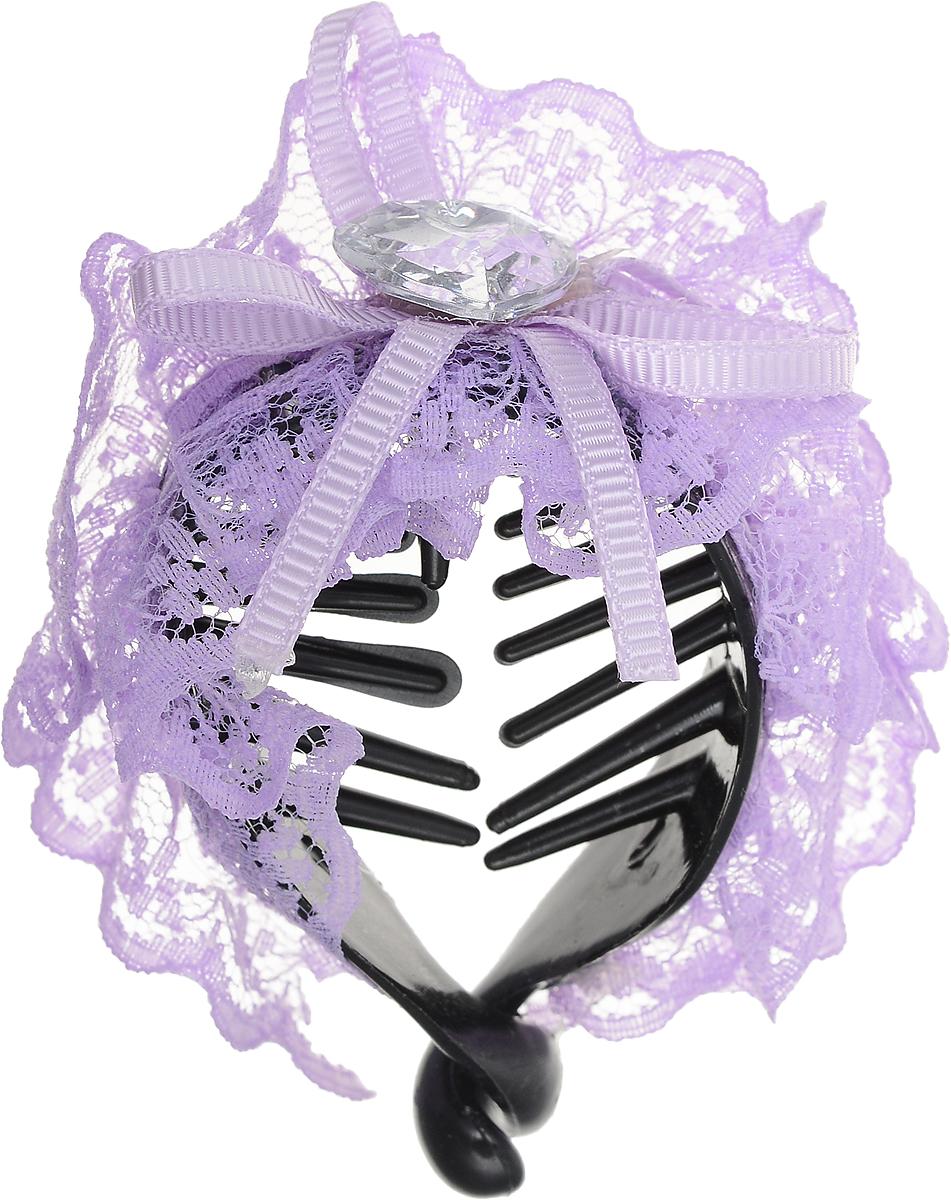 Зажим для волос Mitya Veselkov, цвет: фиолетовый. 1058-VIOLET-DAMSatin Hair 7 BR730MNСтильный зажим для волос Mitya Veselkov изготовлен из пластика, декорирован лентой и стразом в виде сердца.