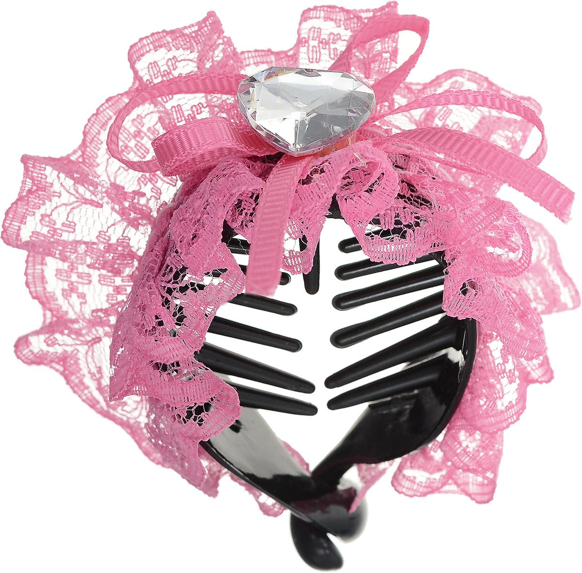 Зажим для волос Mitya Veselkov, цвет: розовый. 1058-PINK-DAMСерьги с подвескамиСтильный зажим для волос Mitya Veselkov изготовлен из пластика, декорирован лентой и стразом в виде сердца.