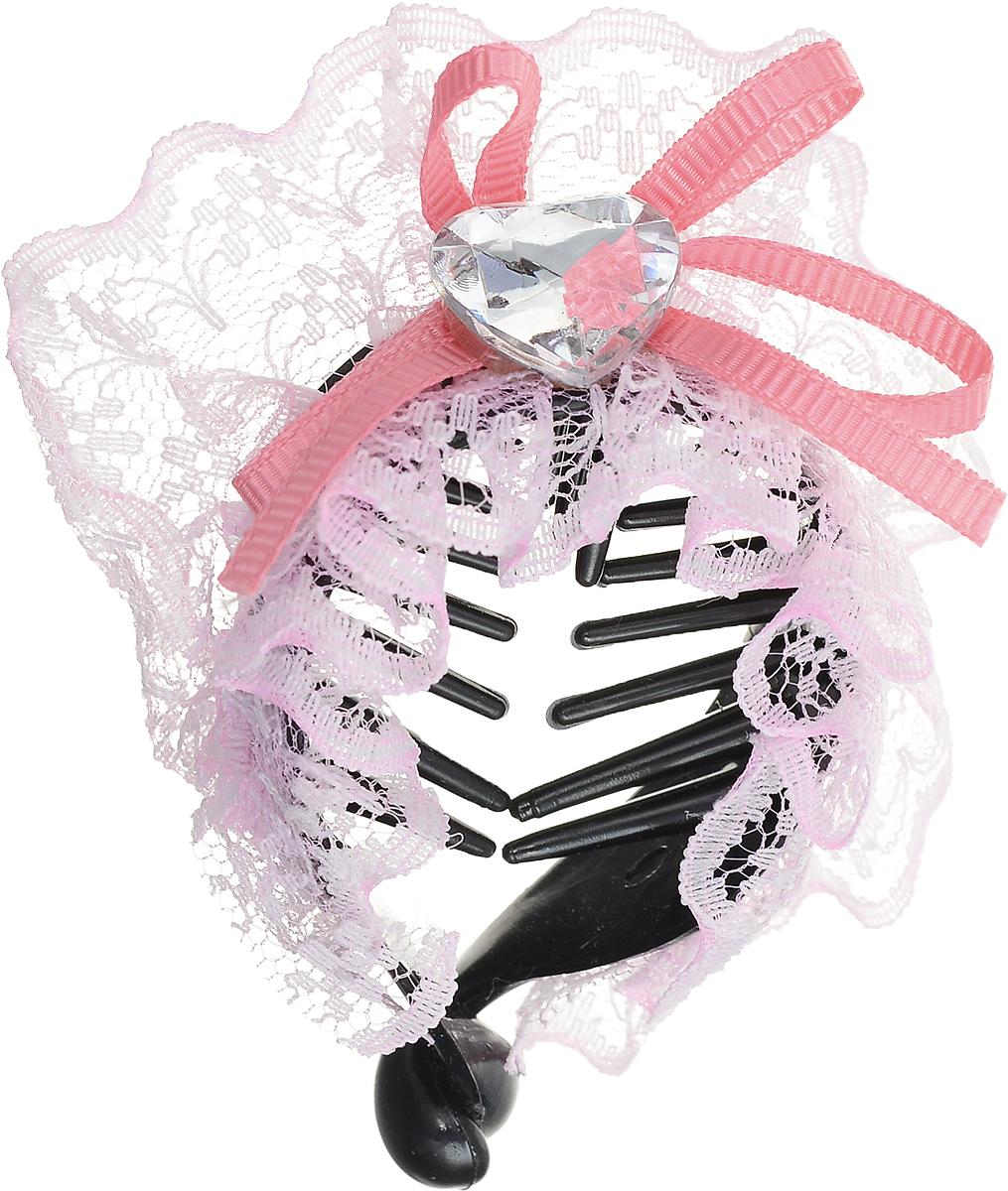 Зажим для волос Mitya Veselkov, цвет: черный, розовый. 1058-WHITE-DAMMP59.4DСтильный зажим для волос Mitya Veselkov изготовлен из пластика, декорированкружевной лентой и стразом в виде сердца.