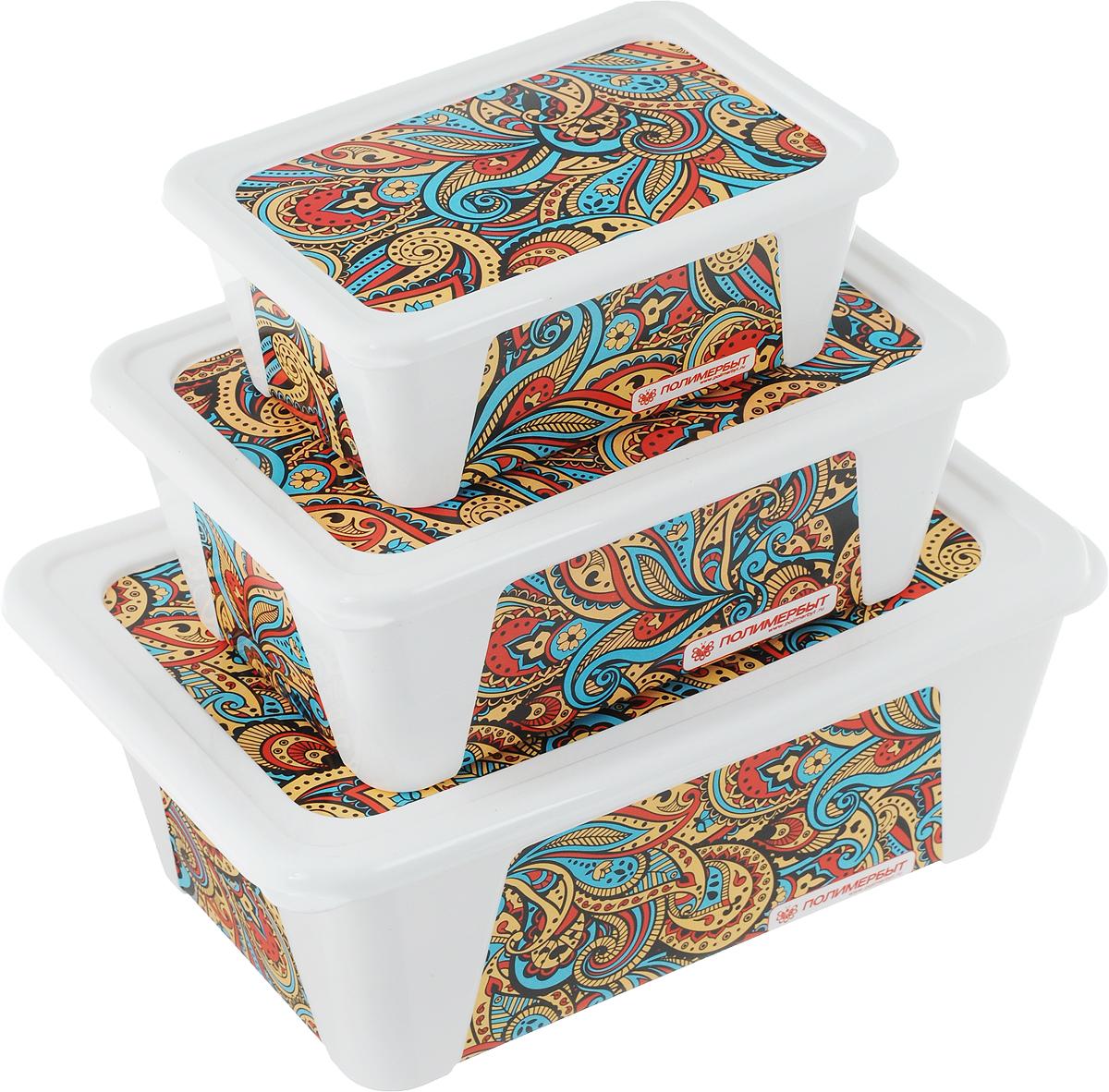 Набор контейнеров для хранения Полимербыт Пейсли, 3 шт70850_красныйНабор Полимербыт Пейсли состоит из трех контейнеров, которые выполнены из пластика и оформлены оригинальным рисунком. Изделие подойдет как для хранения канцелярии, так и для хранения швейных принадлежностей. Размеры контейнеров: 22 х 15 х 8,5 см; 18 х 12,5 х 7 см; 14 х 9,5 х 5 см.Объём контейнеров: 1,65 л, 900 мл, 400 мл.
