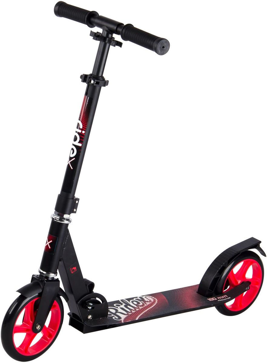 Самокат Ridex Predator, 2-колесный, цвет: черный, красный, 180 мм457-102Модель самоката бренда Ridex подходит как подрастающим, так и взрослым райдерам для катания по ровным асфальтированным дорожкам и мелкой плитке, благодаря полиуретановым колесам, диаметр которых 180 миллиметров. Большие колеса, которые укомплектованы качественными подшипниками ABEC – 7, позволяют преодолевать длительные расстояния, наслаждаясь процессом катания. Прочная алюминиевая конструкция обеспечивает надежность и износостойкость самоката, а удобные резиновые ручки создают прочное сцепление с ладонями. Стильный, сдержанный дизайн отлично впишется в городскую среду!Максимальная высота руля: 91 см.Минимальная высота руля: 71 см.Размеры платформы: 55 x 11 см.Диаметр колеса: 18 см.Рекомендуемый возраст: от 5 лет.