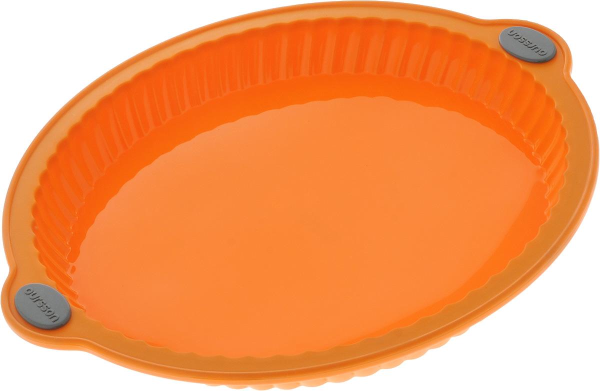 Форма для выпечки Oursson Пирог, цвет: оранжевый, силиконовая, диаметр 29 см391602Форма для выпечки Oursson Пирог, выполненная из силикона с металлическим каркасом, будет отличным выбором для всех любителей домашней выпечки. Форма имеет круглую форму.Силиконовые формы для выпечки имеют множество преимуществ по сравнению с традиционными металлическими формами и противнями. Нет необходимости смазывать форму маслом. Она быстро нагревается, равномерно пропекает, не допускает подгорания выпечки с краев или снизу.Вынимать продукты из формы очень легко. Слегка выверните края формы или оттяните в сторону, и ваша выпечка легко выскользнет из формы.Материал устойчив к фруктовым кислотам, не ржавеет, на нем не образуются пятна. Форма может быть использована в духовках и микроволновых печах (выдерживает температуру от -20°С до +220°С), также ее можно помещать в морозильную камеру и холодильник.Размер формы: 32 х 29 х 3,4 см.