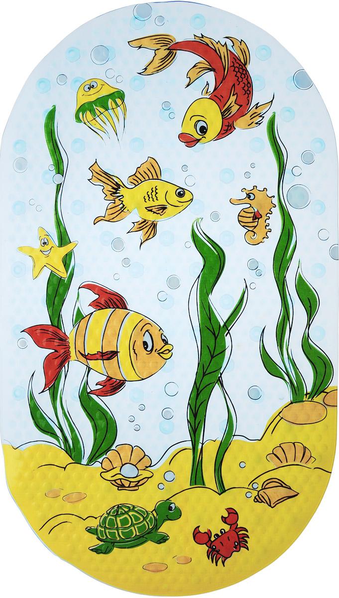 Valiant Коврик для ванной Подводный мир на присосках 69 х 39 см68/5/3Коврик для ванной Valiant Подводный мир предназначен для купания детей в ванночках и больших ваннах. Яркий и красочный коврик будет радовать малыша и дарить ему хорошее настроение.Коврик изготовлен из высококачественного материала, который обладает противоскользящими свойствами. Благодаря специальным эластичным присоскам коврик надежно крепится к поверхности. Материал коврика содержит антибактериальные компоненты, устойчив к воздействию влаги.Для улучшения фиксации рекомендуется сначала намочить коврик, затем положить на чистую поверхность и плотно прижать.