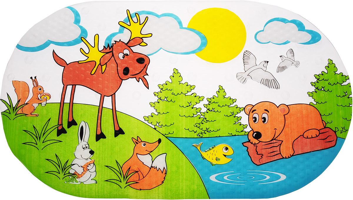 Valiant Коврик для ванной Лесные животные на присосках 69 х 39 см68/5/2Коврик для ванной Valiant Лесные животные предназначен для купания детей в ванночках и больших ваннах. Яркий и красочный коврик будет радовать малыша и дарить ему хорошее настроение.Коврик изготовлен из высококачественного материала, который обладает противоскользящими свойствами. Благодаря специальным эластичным присоскам коврик надежно крепится к поверхности. Материал коврика содержит антибактериальные компоненты, устойчив к воздействию влаги.Для улучшения фиксации рекомендуется сначала намочить коврик, затем положить на чистую поверхность и плотно прижать.
