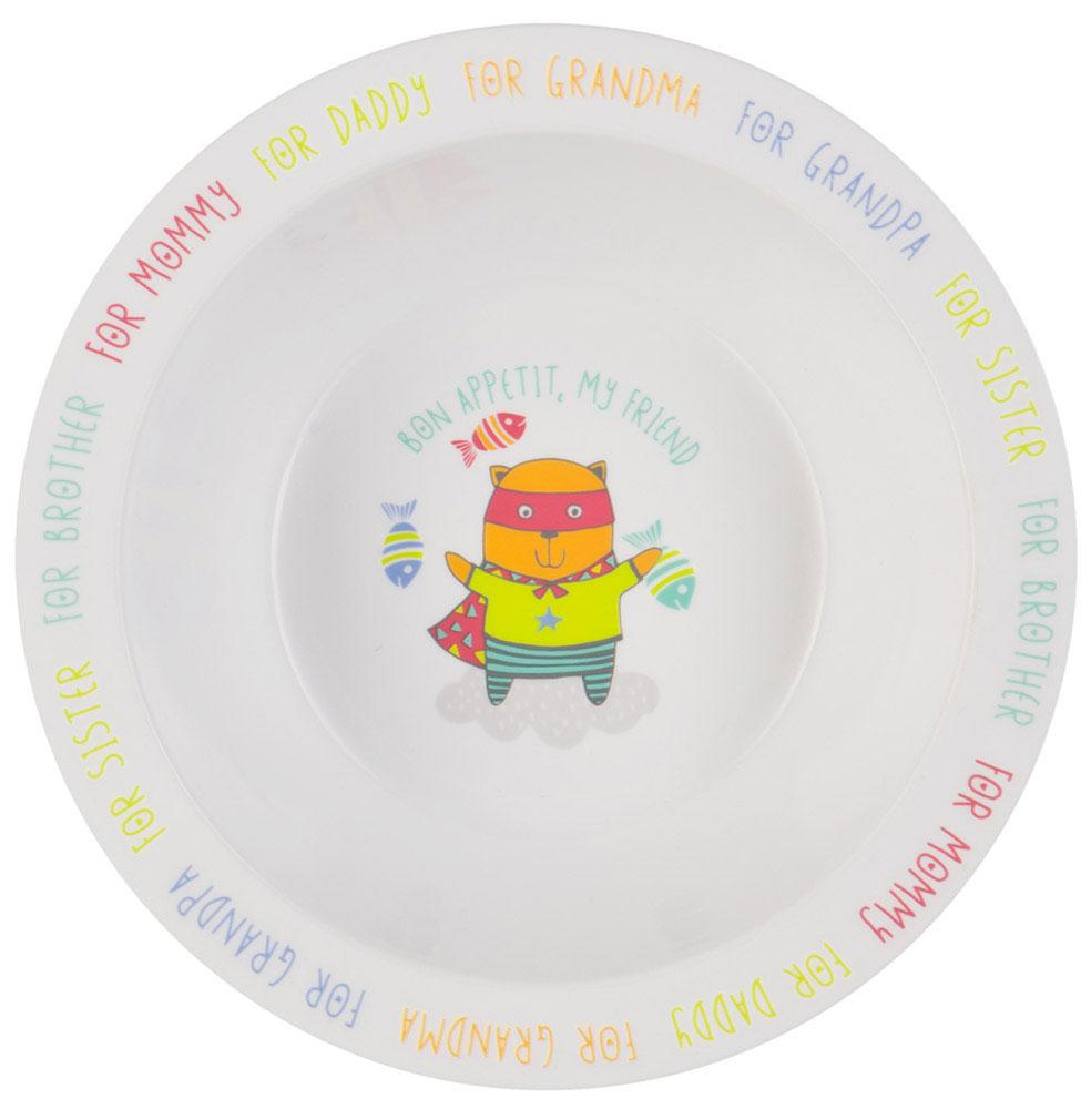 Happy Baby Тарелка глубокая для кормления Кот с присоской цвет белый желтый115510Глубокая тарелка для кормления Happy Baby Кот изготовлена из безопасного материала.Тарелочка, оформленная веселой картинкой, понравится и малышу, и родителям! Ребенок будет с удовольствием учиться кушать самостоятельно. Тарелочка подходит для горячей и холодной пищи.Яркий дизайн тарелки превращает процесс кормления в увлекательную игру. Широкая присоска на дне прочно фиксирует тарелку на гладкой поверхности и не позволит ее перевернуть.Подходит для детей от 6 месяцев.Не содержит бисфенол А.