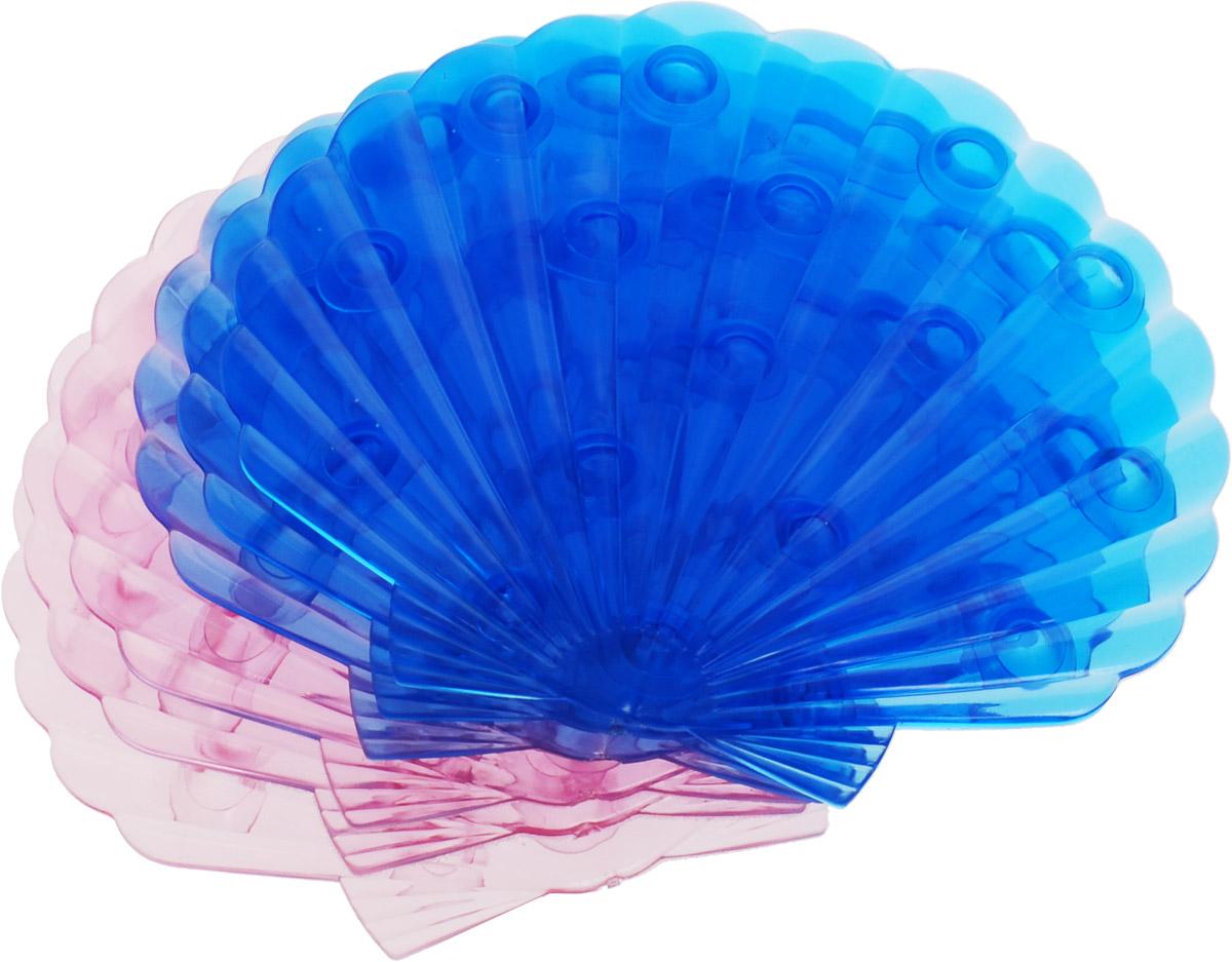 Valiant Мини-коврик для ванной комнаты Ракушка на присосках цвет синий розовый 6 шт68/5/3Мини-коврик для ванной комнаты Valiant Ракушка - это модный и экономичный способ сделать вашу ванную комнату более уютной, красивой и безопасной.В наборе представлены 6 мини-ковриков в виде морских ракушек. Коврики прочно крепятся на любую гладкую поверхность с помощью присосок. Расположите коврик там, где вам необходимо яркое цветовое пятно и надежная противоскользящая опора - на поверхности ванной, на кафельной стене или стенке душевой кабины, на полу - как дополнение вашего коврика стандартного размера.Мини-коврики Valiant незаменимы при купании маленького ребенка: он не поскользнется и не упадет, держась за мягкую и приятную на ощупь рифленую поверхность коврика.Рекомендации по уходу: после использования тщательно смойте остатки мыла или других косметических средств с коврика.