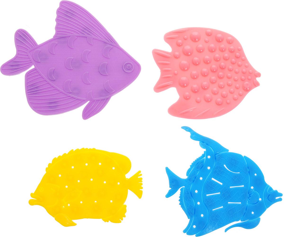 Valiant Мини-коврик для ванной комнаты Микс Рыбки на присосках 4 шт68/5/2Мини-коврик для ванной комнаты Valiant Микс. Рыбки - это модный и экономичный способ сделать вашу ванную комнату более уютной, красивой и безопасной.В наборе представлены 4 мини-коврика в виде ярких рыбок. Коврики прочно крепятся на любую гладкую поверхность с помощью присосок. Расположите коврик там, где вам необходимо яркое цветовое пятно и надежная противоскользящая опора - на поверхности ванной, на кафельной стене или стенке душевой кабины, на полу - как дополнение вашего коврика стандартного размера.Мини-коврики Valiant незаменимы при купании маленького ребенка: он не поскользнется и не упадет, держась за мягкую и приятную на ощупь рифленую поверхность коврика.Рекомендации по уходу: после использования тщательно смойте остатки мыла или других косметических средств с коврика.