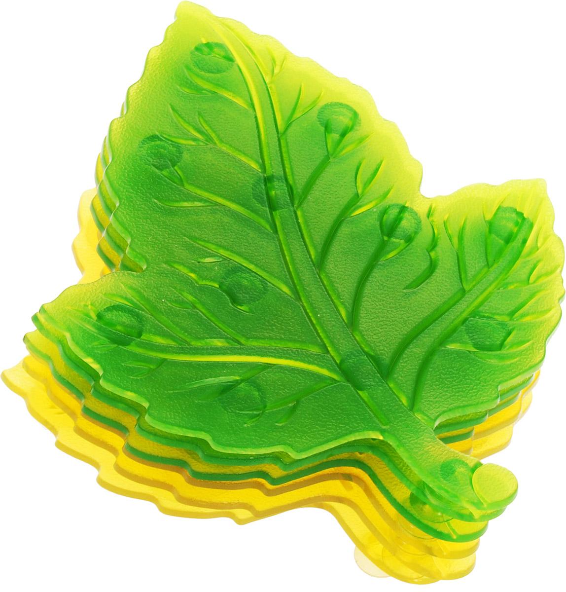 Valiant Мини-коврик для ванной комнаты Листик на присосках цвет зеленый желтый 6 шт4005176886744Мини-коврик для ванной комнаты Valiant Листик - это модный и экономичный способ сделать вашу ванную комнату более уютной, красивой и безопасной.В наборе представлены 6 мини-ковриков в виде листиков двух цветов. Коврики прочно крепятся на любую гладкую поверхность с помощью присосок. Расположите коврик там, где вам необходимо яркое цветовое пятно и надежная противоскользящая опора - на поверхности ванной, на кафельной стене или стенке душевой кабины, на полу - как дополнение вашего коврика стандартного размера.Мини-коврики Valiant незаменимы при купании маленького ребенка: он не поскользнется и не упадет, держась за мягкую и приятную на ощупь рифленую поверхность коврика.Рекомендации по уходу: после использования тщательно смойте остатки мыла или других косметических средств с коврика.