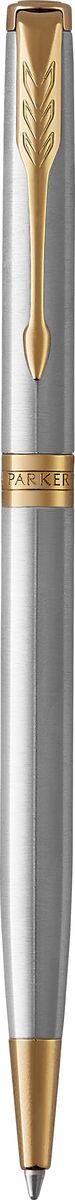 Шариковая ручка Parker Sonnet Slim Stainless Steel GT - идеальный инструмент для письма. Материал ручки - шлифованная нержавеющая сталь, в отделке применяется позолота 23К. Способ подачи стержня: поворотный.Произведено во Франции.