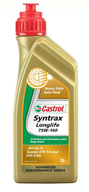 Масло трансмиссионное Castrol Syntrax Longlife, синтетическое, для мостов, класс вязкости 75W-140, 1 лS03301004Castrol Syntrax Longlife - полностью синтетическое редукторное масло, рекомендованное для использования в дифференциалах и конечных передачах пассажирских автомобилей и коммерческого транспорта, где требуется соответствие классу API GL-5. Castrol Syntrax Longlife включен в лист одобрения продуктов Scania и соответствует требованиям Scania STO 1:0 и STO 2:0A.Преимущества:- Превосходная защита от износа и экстремальных давлений при любых температурах окружающей среды и нагрузках обеспечивает наилучшую защиту главных передач, что увеличивает срок службы и снижает эксплуатационные затраты.- Отличная текучесть при низких температурах снижает потери крутящего момента, увеличивая эффективность работы трансмиссии.- Улучшенная защита компонентов трансмиссии при трогании с места и при низких температурах.- Превосходная температурная и окислительная стабильность сочетается с отличным охлаждением работающих компонентов.- Защита против питтинга.- Высочайшая устойчивость к сдвигу обеспечивает увеличенный срок службы масла и компонентов.- Увеличенные интервалы замены снижают эксплуатационные затраты.Спецификации:- API GL-5,- Scania STO 1:0,- Scania STO 2:0A.Товар сертифицирован.