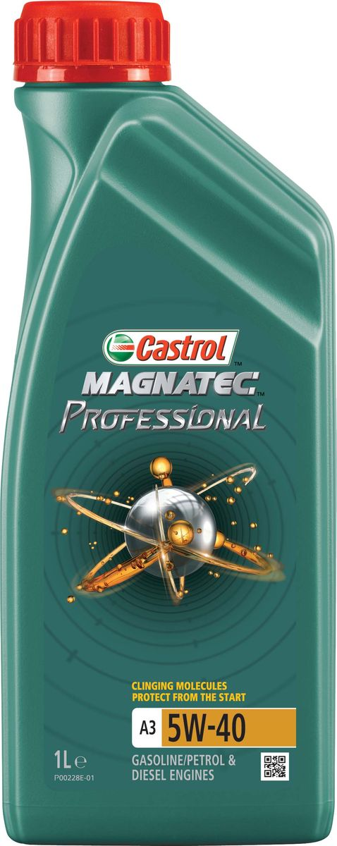 """Моторное масло Magnatec Professional A3 5W-40, 1 лS03301004ОписаниеМоторное масло Castrol Magnatec Professional с разработкой """"Intelligent Molecules"""" значительно снижает износдвигателя*.При выключенном двигателе моторное масло стекает в поддон картера, оставляя важнейшие пары трениянезащищенными. В отличие от остальных масел молекулы Castrol Magnatec Professional притягиваются кдеталям, образуя сверхпрочную масляную пленку, обеспечивающую их дополнительную защиту с первойсекунды пуска двигателя.В соответствии с высочайшими мировыми стандартами продукт прошёл процесс микрофильтрации.Для профессионального использования на СТО.* согласно отраслевому тесту на износ Sequence IVAПрименениеМоторное масло Castrol Magnatec Professional A3 5W-40 предназначено для бензиновых и дизельных двигателейавтомобилей, в которых производитель рекомендует использовать смазочные материалы, соответствующиеклассу вязкости SAE 5W-40 и отраслевым стандартам ACEA A3/B4, A3/B3, API SN/CF или более ранним.Castrol Magnatec Professional A3 5W-40 одобрено к применению большинством производителей техники (см.раздел спецификаций и руководство по эксплуатации автомобиля).ПреимуществаУникальные молекулы Castrol Magnatec Professional:остаются на важнейших парах трения, когда масло стекает вниз;притягиваются к деталям двигателя, образуя сверхпрочную масляную пленку, которая защищает спервой секунды пуска двигателя;обволакивают металлические поверхности мотора, повышая износостойкость его компонентов;обеспечивают постоянную защиту в любых условиях эксплуатации, при различных стилях вождения и вшироком диапазоне температур.Проявляет отличные эксплуатационные характеристики в экстремальных условиях холодного пуска.СпецификацииACEA A3/B3, A3/B4API SN/CFBMW Longlife-01MB-Approval 226.5/ 229.3/ 229.5Renault RN0700 / RN0710VW 502 00/ 505 00"""