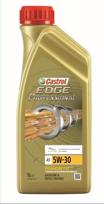 Моторное масло Castrol EdgeProfessional A5 5W-30 Jaguar, 1 лS03301004ОписаниеПолностью синтетическое моторное масло Castrol EDGE Professional произведено сиспользованием новейшей технологии TITANIUM FST™.Технология TITANIUM FST™ на физическом уровне меняет поведение масла Castrol EDGEPROFESSIONAL в условиях экстремальных нагрузок.Основой технологии TITANIUM FST™ являются полимерные металлоорганические соединения,содержащие титан. Таким образом, титан становится компонентом масла и работает в унисон стехнологией усиленной масляной плёнки Fluid Strength Technology (FST™), которая была внедренав 2011 году. Испытания подтвердили, что TITANIUM FST™ в 2 раза увеличивает прочностьмасляной плёнки, предотвращая её разрыв и снижая трение для максимальнойпроизводительности двигателя.Используя опыт сотрудничества с автопроизводителями мы применили такую же технологию,которая ранее использовалась только при производстве масла для конвейерной заливки.Моторное масло Castrol EDGE Professional прошло многоуровневую микрофильтрацию. Контролькачества осуществляется с использованием новой технологии оптического измерения частицCastrol – Optical Particle Measurement System (OPMS).Castrol EDGE Professional - первое в мире масло сертифицированное как CO2- нейтральное всоответствии с мировыми стандартами.Уникальной особенностью Castrol EDGE Professional является его характерное свечение в УФ-лучах, что служит гарантией профессионального качества.ПрименениеCastrol EDGE Professional A5 5W-30 предназначено для бензиновых и дизельных двигателейавтомобилей, где производитель рекомендует моторные масла класса вязкости SAE 5W-30спецификаций ACEA A1/B1, A5/B5, API SN/CF или более ранних.Castrol EDGE Professional A5 5W-30 рекомендовано и одобрено для использования в двигателяхавтомобилей, требующих смазочные материалы спецификации Meets Ford WSS-M2C913-C.Castrol EDGE Professional A5 5W-30 рекомендовано и одобрено для использования в двигателяхавтомобилей Jaguar Land Rover, требующих смазочные матер