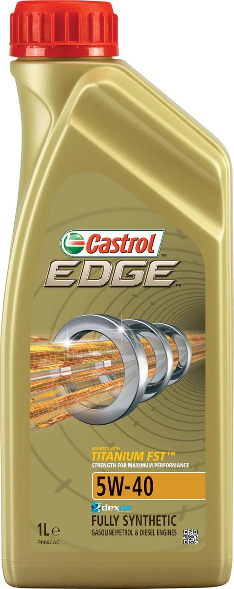 Масло моторное Castrol Edge, синтетическое, класс вязкости 5W-40, 1 лS03301004Полностью синтетическое моторное масло Castrol Edge произведено с использованием новейшей технологии TITANIUM FST™, придающей масляной пленке дополнительную силу и прочность благодаря соединениям титана.TITANIUM FST™ радикально меняет поведение масла в условиях экстремальных нагрузок, формируя дополнительный ударопоглащающий слой. Испытания подтвердили, что TITANIUM FST™ в 2 раза увеличивает прочность пленки, предотвращая ее разрыв и снижая трение для максимальной производительности двигателя.С Castrol Edge ваш автомобиль готов к любым испытаниям независимо от дорожных условий.Castrol Edge предназначено для бензиновых и дизельных двигателей автомобилей, где производитель рекомендует моторные масла спецификаций ACEA C3, API SN или более ранних. Castrol Edge одобрено к применению ведущими производителями техники.Castrol Edge обеспечивает надежную и максимально эффективную работу современныхвысокотехнологичных двигателей, созданных по новейшим инженерным разработкам, которые работают в условиях ужесточенных допусков производителей техники, требующих высокого уровня защиты и использования маловязких масел.Castrol Edge:- поддерживает максимальную эффективность работы двигателя, как в краткосрочном периоде времени, так и на длительный срок эксплуатации;- подавляет образование отложений, способствуя повышению скорости реакции двигателя на нажатие педали акселератора;- обеспечивает непревзойденный уровень защиты мотора в разных условиях движения и широком диапазоне температур;- повышает КПД двигателя (независимо подтверждено);- обеспечивает и поддерживает максимальную мощность двигателя в течении длительного времени, даже в условиях интенсивной эксплуатации.Спецификации:ACEA C3,API SN,BMW Longlife-04,Meets Fiat 9.55535-S2,Meets Ford WSS-M2C917-A,MB-Approval 229.31/ 229.51,Renault RN 0700 / RN 0710,VW 502 00 / 505 00/ 505 00/ 505.01.Товар сертифицирован.