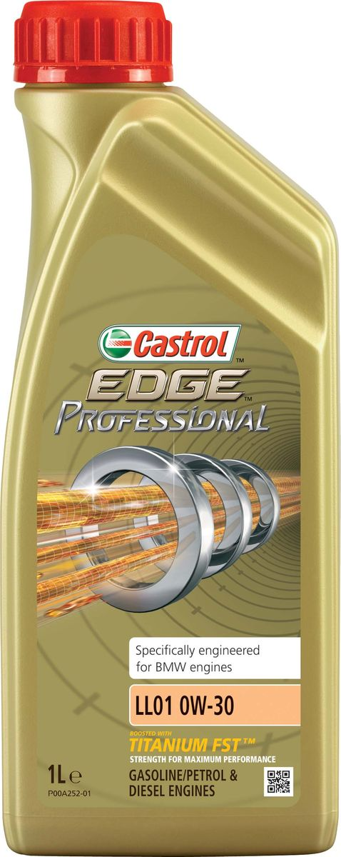 Моторное масло Castrol EdgeProfessional LL01 0W-30, 1 л156ED5ОписаниеПолностью синтетическое моторное масло Castrol EDGE Professional произведено сиспользованием новейшей технологии TITANIUM FST™.Технология TITANIUM FST™ на физическом уровне меняет поведение масла Castrol EDGEPROFESSIONAL в условиях экстремальных нагрузок.Основой технологии TITANIUM FST™ являются полимерные металлоорганические соединения,содержащие титан. Таким образом, титан становится компонентом масла и работает в унисон стехнологией усиленной масляной плёнки Fluid Strength Technology (FST™), которая была внедренав 2011 году. Испытания подтвердили, что TITANIUM FST™ в 2 раза увеличивает прочностьмасляной плёнки, предотвращая её разрыв и снижая трение для максимальнойпроизводительности двигателя.Используя опыт сотрудничества с автопроизводителями мы применили такую же технологию,которая ранее использовалась только при производстве масла для конвейерной заливки.Моторное масло Castrol EDGE Professional прошло многоуровневую микрофильтрацию. Контролькачества осуществляется с использованием новой технологии оптического измерения частицCastrol – Optical Particle Measurement System (OPMS).Castrol EDGE Professional - первое в мире масло сертифицированное как CO2- нейтральное всоответствии с мировыми стандартами.Уникальной особенностью Castrol EDGE Professional является его характерное свечение в УФ-лучах, что служит гарантией профессионального качества.ПрименениеCastrol EDGE Professional LL01 0W-30 предназначено для бензиновых и дизельных двигателейавтомобилей, где производитель рекомендует моторные масла класса вязкости SAE 0W-30спецификаций ACEA A3/B3, A3/B4, API SL/CF или более ранних.Castrol EDGE Professional LL01 0W-30 рекомендовано и одобрено к применению в автомобилях,требующих смазочные материалы спецификации BMW Longlife-01.ПреимуществаCastrol EDGE Professional LL01 0W-30 обеспечивает надёжную и максимально эффективнуюработу современных высокотехнологичных двигателей, созданных по новейшим инжен