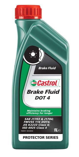 Тормозная жидкость Castrol Brake Fluid DOT4, 1 лDAVC150ОписаниеCastrol Brake Fluid DOT4 - высококипящая тормозная жидкость, превышающая требования спецификаций SAEJ1703,SAE J1704, FMVSS 116 DOT 4 , ISO 4925 и Jis K 2233.Castrol Brake Fluid DOT4 предназначена для применения во всех тормозных системах, в особенности частоподвергающимся высоким нагрузкамПрименениеПродукт состоит из смеси полиалкиленгликолевых эфиров и борсодержащих сложных эфиров в сочетании свысокоэффективными присадками и ингибиторами, обеспечивающими превосходную защиту от коррозии иперпятствующими образованию паровых пробок при высокой температуре.Композиция жидкости разработана так, что температура кипения этой жидкости достигает гораздо более высокихзначений по сравнению с традиционными тормозными жидкостями на основе эфиров гликолей в течение периодаиспользования продукта.Castrol Brake Fluid DOT 4 полностью совместима с другими жидкостями соответствующими спецификациям FMVSS116 DOT 3, DOT 4 и DOT 5.1. Тем не менее, для того, чтобы сохранить исключительные эксплуатационныехарактеристики этого продукта, избегайте смешения с другими тормозными жидкостями.Все обычные тормозные жидкости разрушаются во время использования. Настоятельно рекомендуется менятьCastrol Brake Fluid DOT 4 в соответствии с предписаниями производителей техники. В случае отсутствияпредписаний, жидкость рекомендуется менять раз в 2 года.Условия примененияТормозная жидкость Castrol Brake Fluid DOT 4 не должна использоваться в тормозных системах, в которыхпредписаны жидкости на минеральной основе (например, некоторые системы Citroen, для которых подходитCastrol LHM, и Rolls Royce, где одобрен к применению продукт Castrol HSMO Plus).Как и со всеми тормозными жидкостями, содержащими гликолевые эфиры, будьте осторожны и избегайте проливаэтого продукта на окрашенную поверхность, т.к. это может привести к повреждению краски. В случае проливанемедленно промойте водой зону поражения. Не вытирать.СпецификацииJASO JIS K2233SAE J1703J1704492