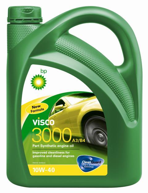Моторное масло BP Visco 3000 A3/B4 10W-40 4, 4 лS03301004Применение BP Visco 3000 A3/B4 10W-40 с технологией защиты двигателя Cleanguard – это высококачественное частично синтетическое моторное масло предназначенное для использования в автомобильных бензиновых и дизельных двигателях, где производитель рекомендует масла соответствующие стандартам API SL/CF или ACEA A3/B4, или более ранним спецификациям. BP Visco 3000 A3/B4 10W-40 также одобрено к применению в двигателях автомобилей Mercedes и VW, где требуются масла спецификаций MB-Approval 229.1 или VW 501 01 / 505 00.Основные преимуществаBP Visco с технологией защиты двигателя Cleanguard: поддерживает чистоту Вашего двигателя длительное время.BP Visco 3000 A3/B4 10W-40 – высококачественное Частично синтетическое моторное масло со следующими преимуществами:- повышенная чистота деталей бензиновых и дизельных двигателей;- дополнительная защита от износа в нормальных условиях эксплуатации;- пониженный расход масла на угар.Спецификации ACEA A3/B4API SL/CFVW 501 01 / 505 00MB-Approval 229.1Meets Fiat 9.55535-D2