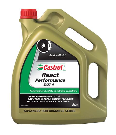 Тормозная жидкость Castrol React Performance DOT 4, 5 лSVC-300ОписаниеCastrol React Performance DOT 4 - высококипящая синтетическая тормозная жидкость, сильно превосходящаятребования спецификаций SAE J1704, FMVSS 116 DOT 3 и DOT 4, ISO 4925 и JIS K2233. Продукт изготовлен на основе смесиполиалкиленгликолевых эфиров и борсодержащих сложных эфиров с высокоэффективными присадками и ингибиторами,обеспечивающими превосходную защиту от коррозии и препятствует образованию паровых пробок при высокой температуре.Тормозная жидкость Castrol React Performance DOT 4 предназначена для использования во всех тормозных системах, в особенностиподвергающихся экстремальным нагрузкам, например в условиях гонок.ПрименениеТормозная жидкость Castrol React Performance DOT 4 специально разработана как альтернатива высокотемпературным свойствамжидкостей стандарта DOT 5.1. Запас свойств этой жидкости предоставляет дополнительные преимущества в ситуациях, когдаавтомобиль эксплуатируется в экстремальных условиях и требуется непревзойдённый отклик тормозной системы.Тормозная жидкость Castrol React Performance DOT 4 создана по совремеенной технологии на основе смеси эфиров гликолей иборсодержащих эфиров. Благодаря такой композиции температура кипения этой жидкости достигает гораздо более высокихзначений по сравнению с традиционными тормозными жидкостями на гликолевоэфирной основе в течение периода эксплуатациипродукта.Castrol React Performance DOT 4 специально разработана для обеспечения стабильности необходимых характеристик припостоянном режиме старт-стоп в условиях города, быстрой езде и эксплуатации в горной местности, при которых тормознаясистема может сильно нагреваться.Жидкость полностью совместима с другими жидкостями соответствующими спецификациям FMVSS 116 DOT 3, DOT 4 и DOT 5.1.Тем не менее, для того, чтобы сохранить исключительные эксплуатационные характеристики этого продукта, избегайте смешения сдругими тормозными жидкостями..Все обычные тормозные жидкости разрушаются во время исполь
