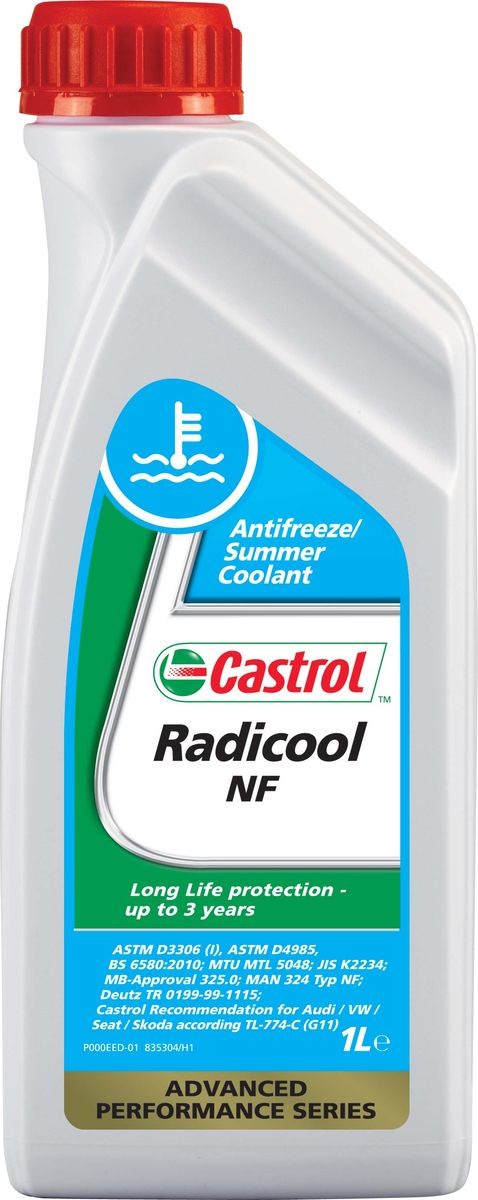 Антифриз Castrol Radicool NF, концентрированный, 1 лSVC-300Castrol Radicool NF – концентрат антифриза на основе моноэтиленгликоля и специально подобранного пакета присадок, без ингибиторов, содержащих нитриты, амины и фосфаты. Создан с использованием гибридной технологии для современных двигателей легковых и грузовых автомобилей.Данную охлаждающую жидкость рекомендуется использовать в концентрациях от 33% до 50% с разбавлением дистиллированной водой, чтобы получить оптимальную защиту от коррозии. При этом температуры замерзания будут находиться в интервалах от -18°C до -36°C.Castrol Radicool NF разработан в соответствии с возрастающими требованиями производителей двигателей и автомобилей к высокоэффективным охлаждающим жидкостям, которые оказывают минимальное влияние на окружающую среду. Обеспечивает отличную защиту от коррозии и, так как он не содержит фосфатов, устраняет проблему отложений, встречающуюся в некоторых современных двигателях. Кроме превосходных антикоррозионных и низкотемпературных свойств, использование антифриза в рекомендованных объемах значительно уменьшит вероятность питтинга мокрой гильзы цилиндра из-за кавитационной эрозии. Кавитационная эрозия вызывается схлопыванием пузырьков воздуха, находящихся в охлаждающей жидкости, которые притягиваются к внешней поверхности гильзы. Эти пузырьки взрываются, в результате удаляя незначительное количество частиц материала гильзы. Если это будет беспрепятственно продолжаться, то приведет к образованию пор в гильзе и серьезной поломке двигателя.Антифриз Castrol Radicool NF:- Используется в системе охлаждения до 3-х лет.- Обладает отличными низкотемпературными свойствами.- Обеспечивает превосходную защиту от коррозии.- Эффективно смазывает водяной насос.- Совместим с традиционными уплотнениями и материалами шлангов, используемых в системе охлаждения двигателя.- Содержит горькую вкусовую добавку, предотвращающую случайное проглатывание.- Имеет одобрения различных производителей автомобилей и оборудования.- Рек