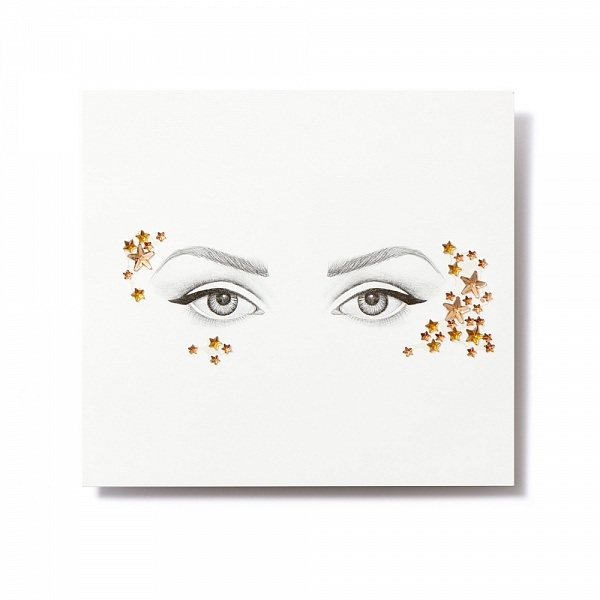 Клеящиеся кристаллы для лица Crystalzzz Stars in Gold, 1 лист 15см*16см28032022Miami Tattoos - это дизайнерские переводные тату-украшения. Коллекция кристаллов Crystalzzz — это модный аксессуар для вашей кожи, который наносится за считанные секунды. Больше вам не нужна помощь визажиста, чтобы создать необычный макияж. Просто отклейте кристаллы от прозрачной пленки и приклейте их на чистую кожу. Crystalzzz можно наносить как на лицо, так и на тело. Они не вызывают аллергию и абсолютно безопасны для кожи.