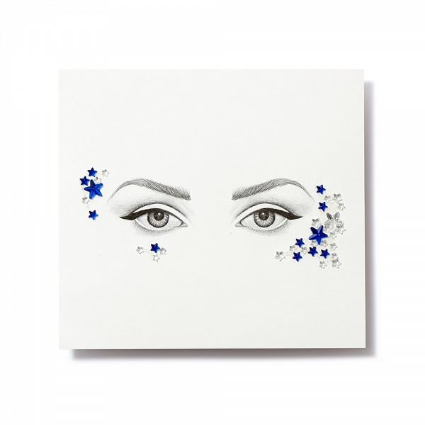 Miami Tattoos Клеящиеся кристаллы для лица Crystalzzz Stars in Blue, 1 лист 15см*16смSatin Hair 7 BR730MNMiami Tattoos - это дизайнерские переводные тату-украшения. Коллекция кристаллов Crystalzzz — это модный аксессуар для вашей кожи, который наносится за считанные секунды. Больше вам не нужна помощь визажиста, чтобы создать необычный макияж. Просто отклейте кристаллы от прозрачной пленки и приклейте их на чистую кожу. Crystalzzz можно наносить как на лицо, так и на тело. Они не вызывают аллергию и абсолютно безопасны для кожи.